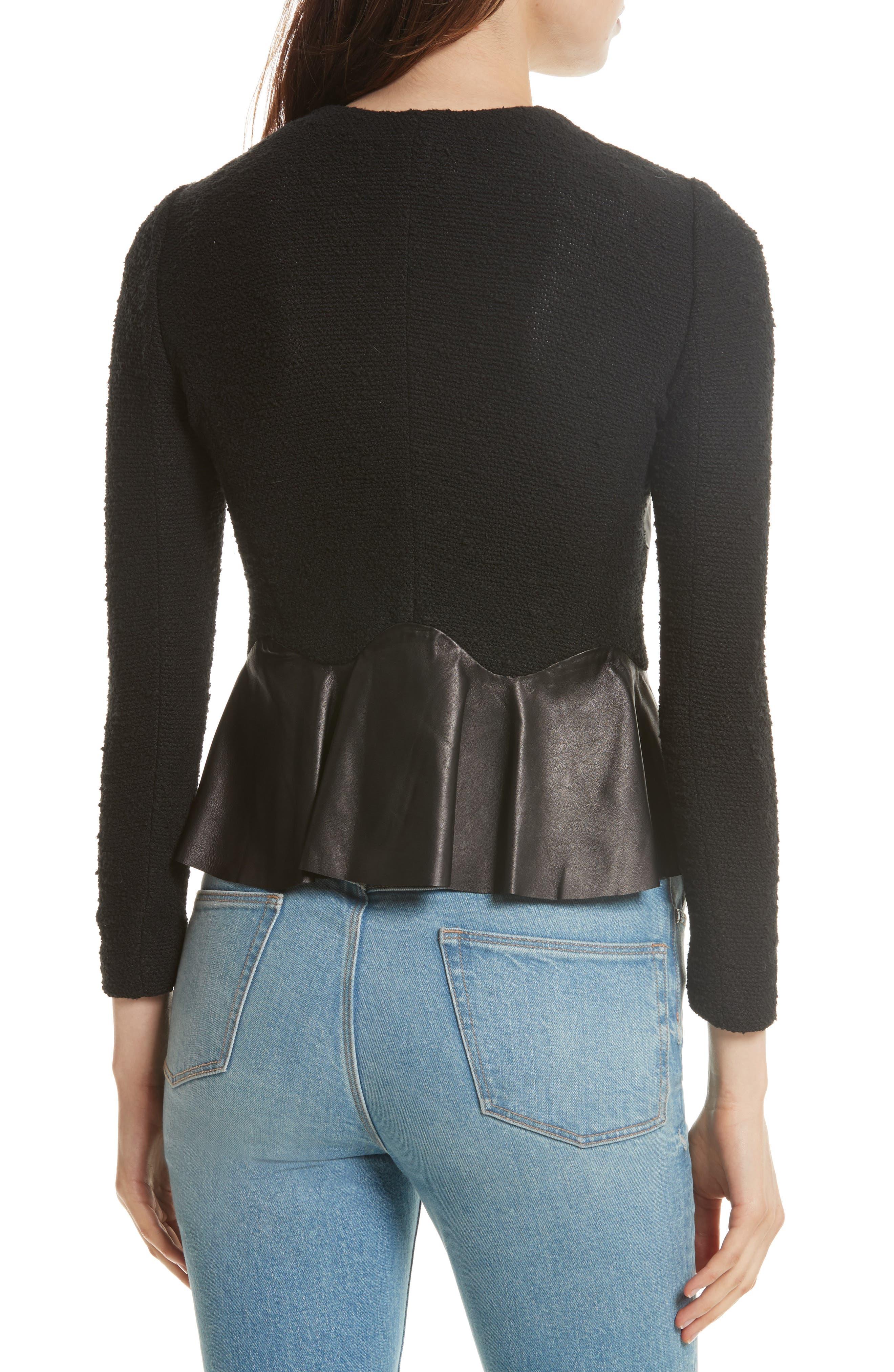 Knit & Lambskin Leather Jacket,                             Alternate thumbnail 2, color,                             Black