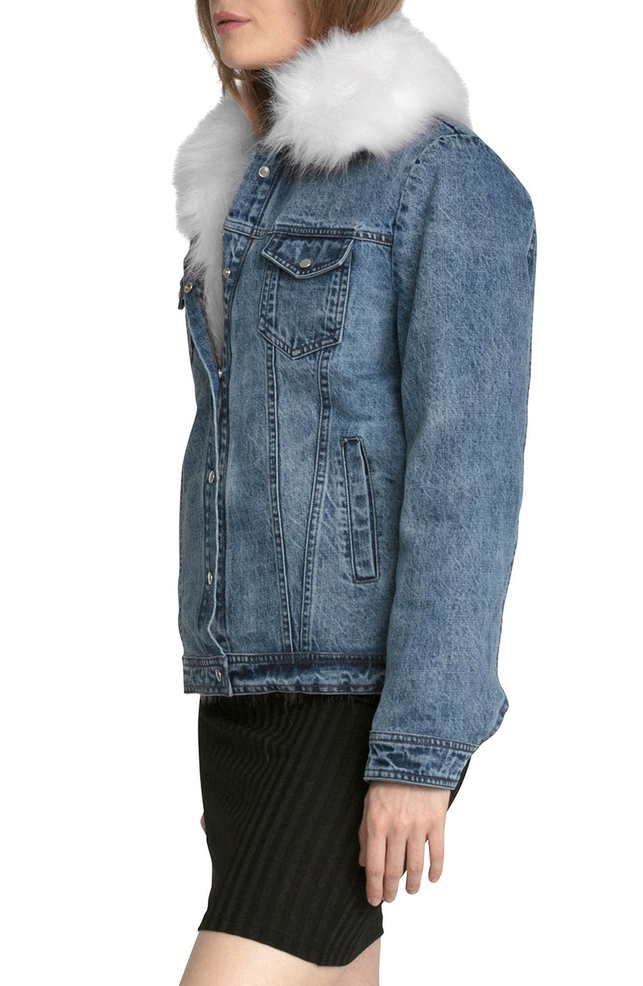 Alternate Image 4  - Avec Les Filles Denim Trucker Jacket with Removable Faux Fur Trim