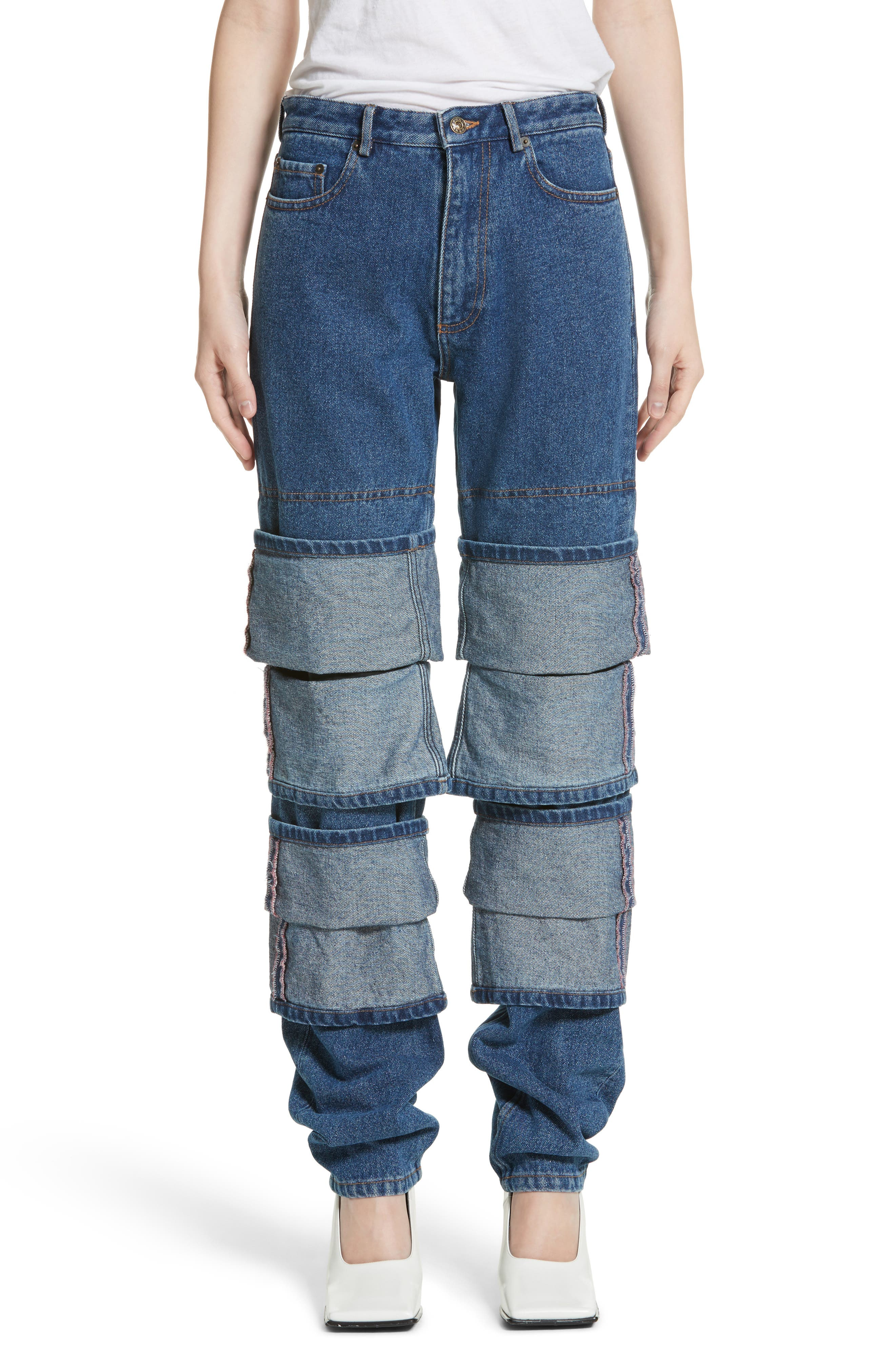 Layered Cuff Jeans,                         Main,                         color, Navy