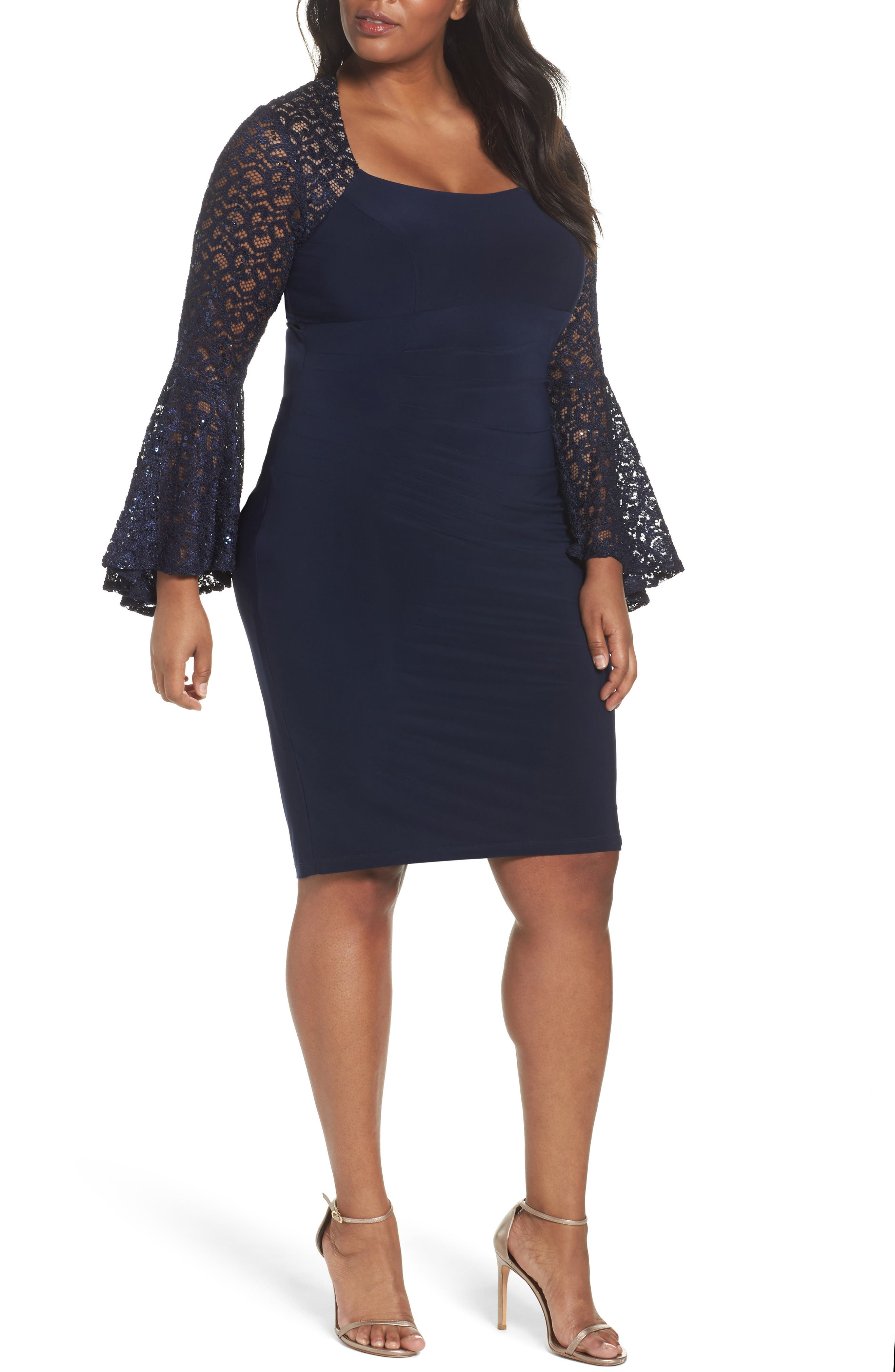 Main Image - Xscape Ruched Lace Sleeve Sheath Dress (Plus Size)