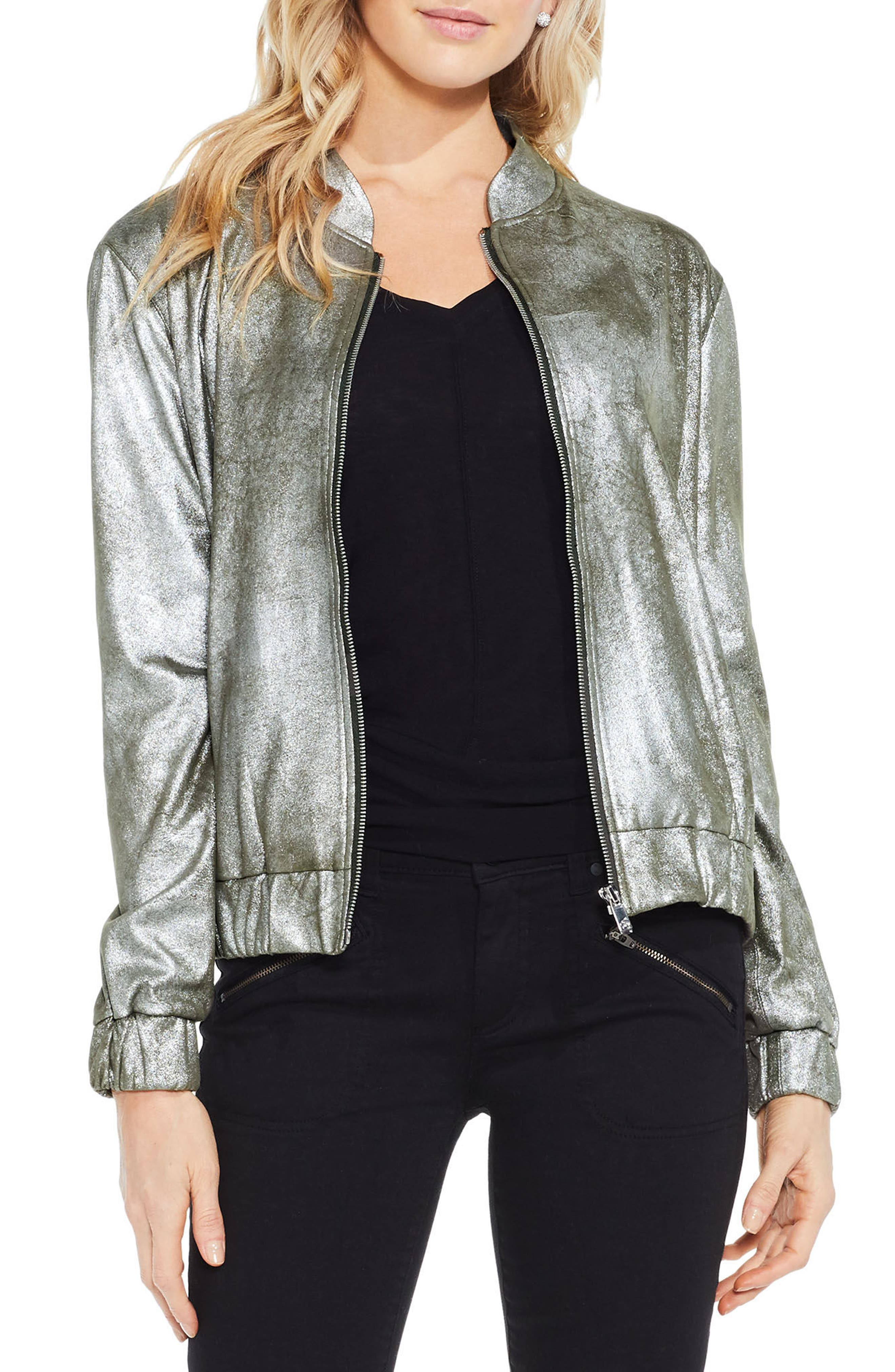 Alternate Image 3  - Two by Vince Camuto Foiled Ponte Knit Bomber Jacket