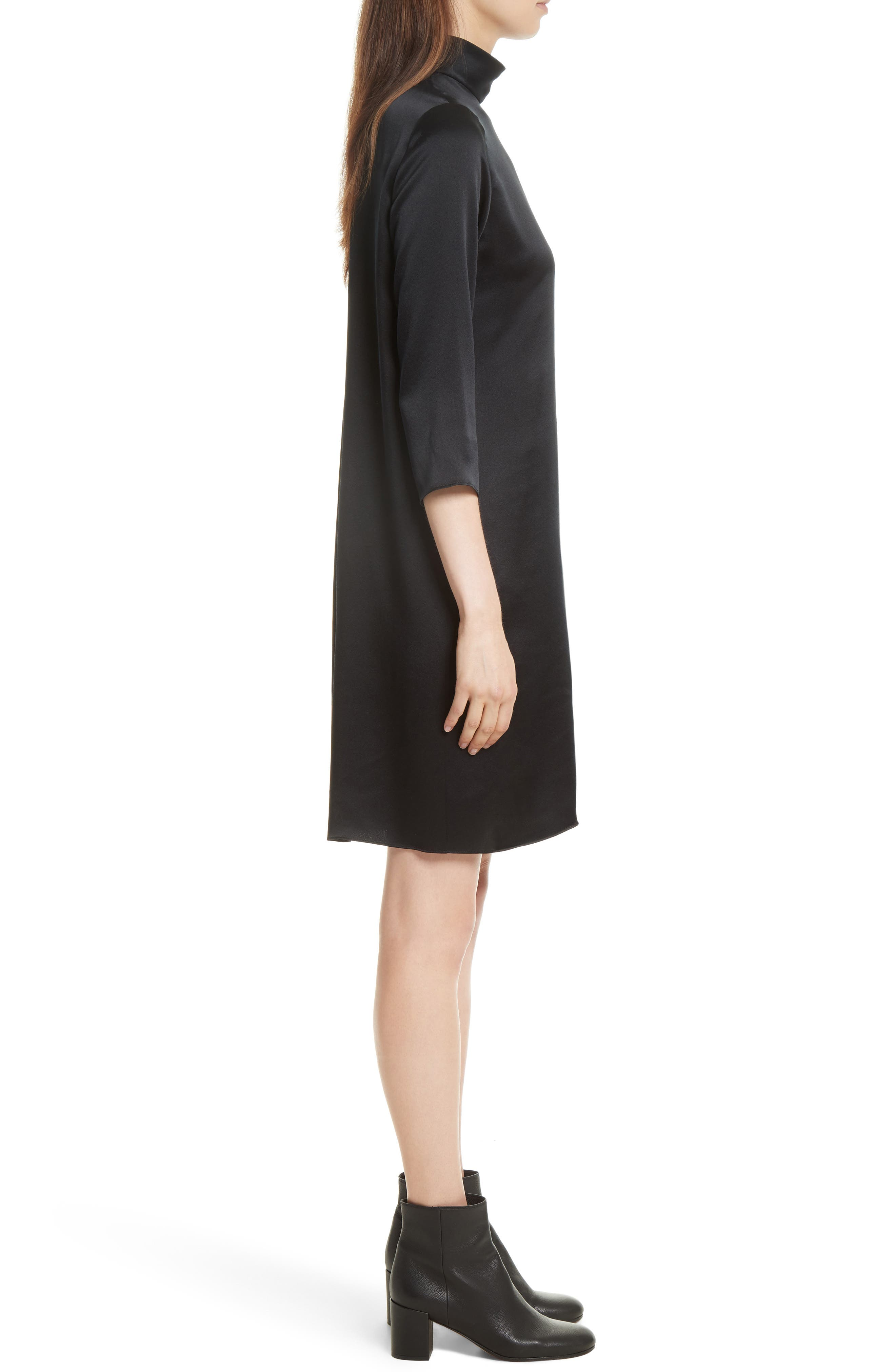 Mock Neck Silk Shift Dress,                             Alternate thumbnail 3, color,                             Black