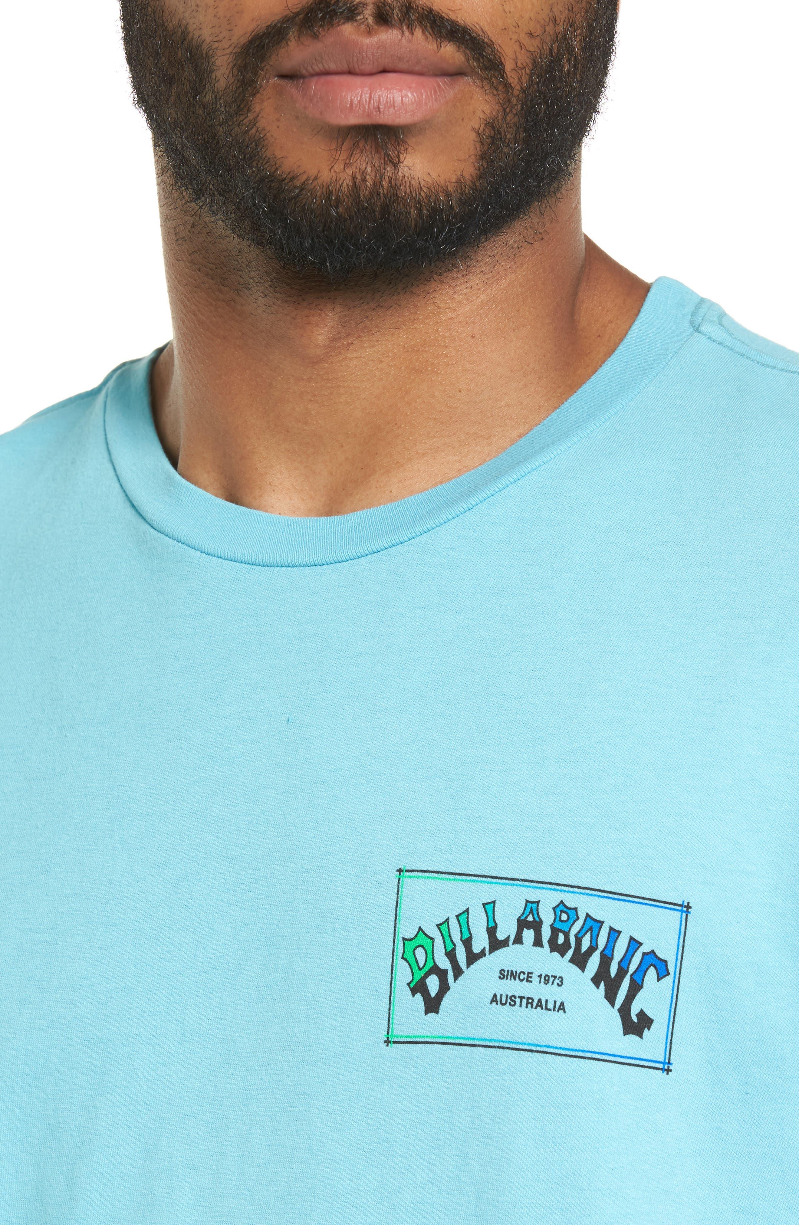 Boxed Arch T-Shirt,                             Alternate thumbnail 4, color,                             Aqua