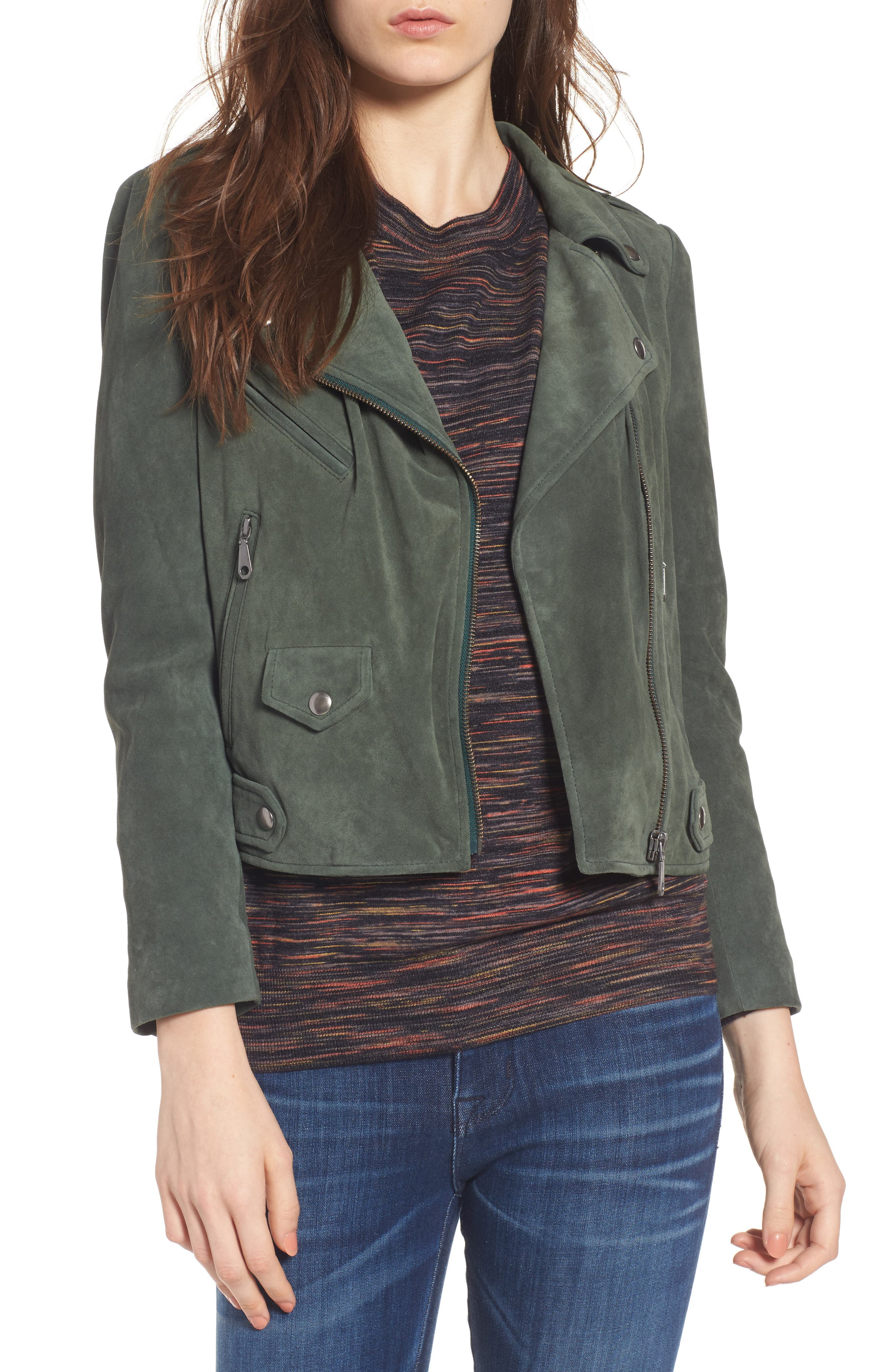 Wes Suede Moto Jacket,                             Main thumbnail 1, color,                             Dark Green