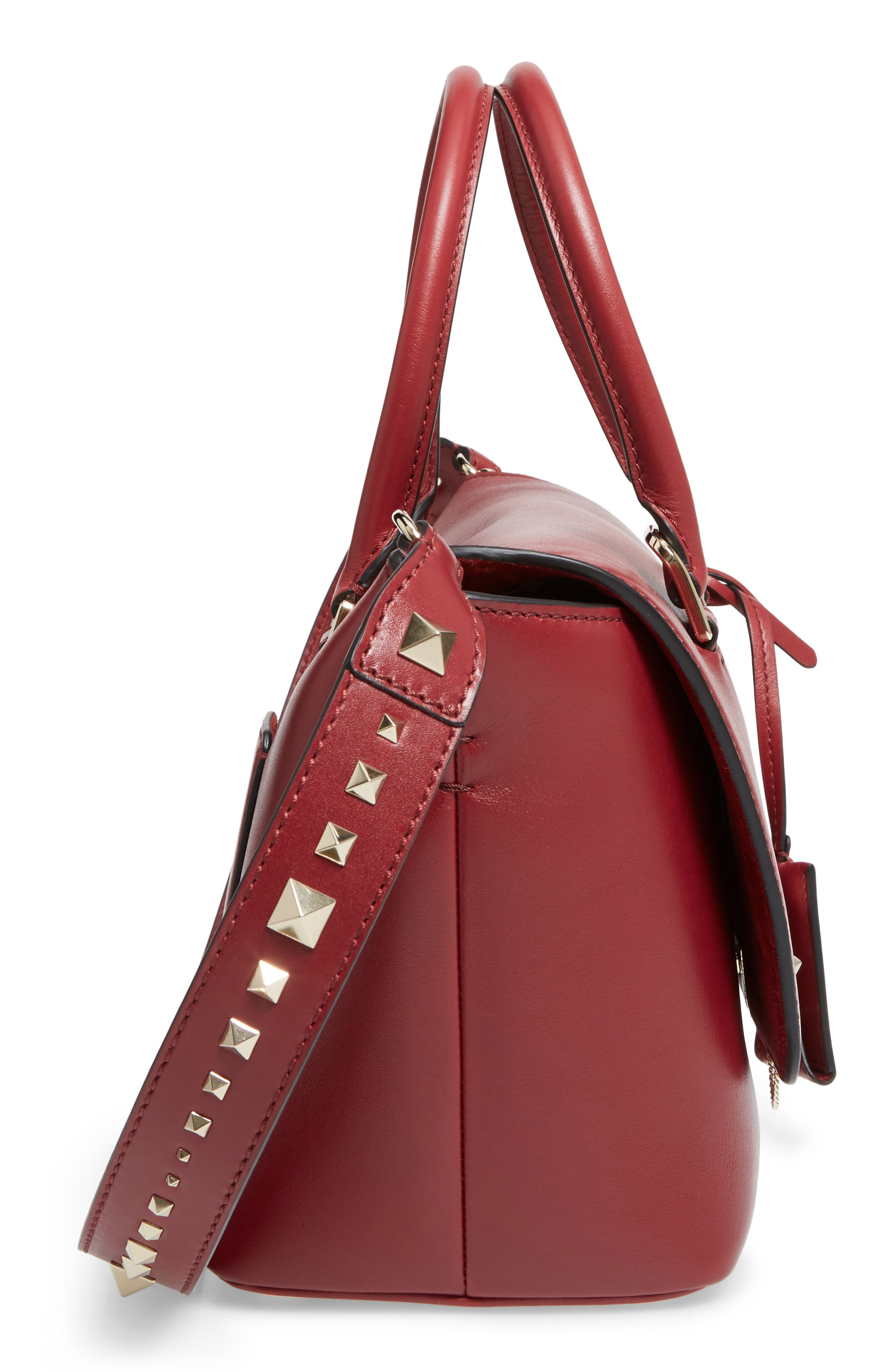 Small Double Handle Demi Moon Leather Satchel,                             Alternate thumbnail 4, color,                             Rosso