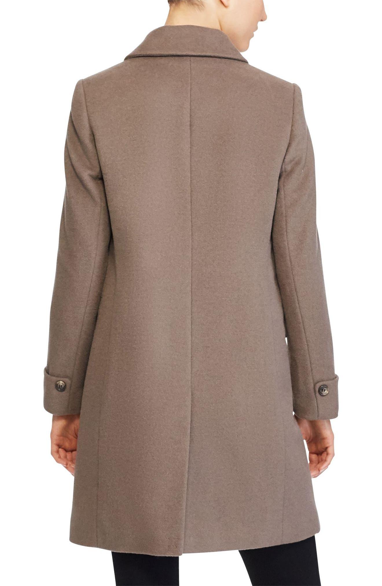 Wool Blend Coat,                             Alternate thumbnail 3, color,                             Mink