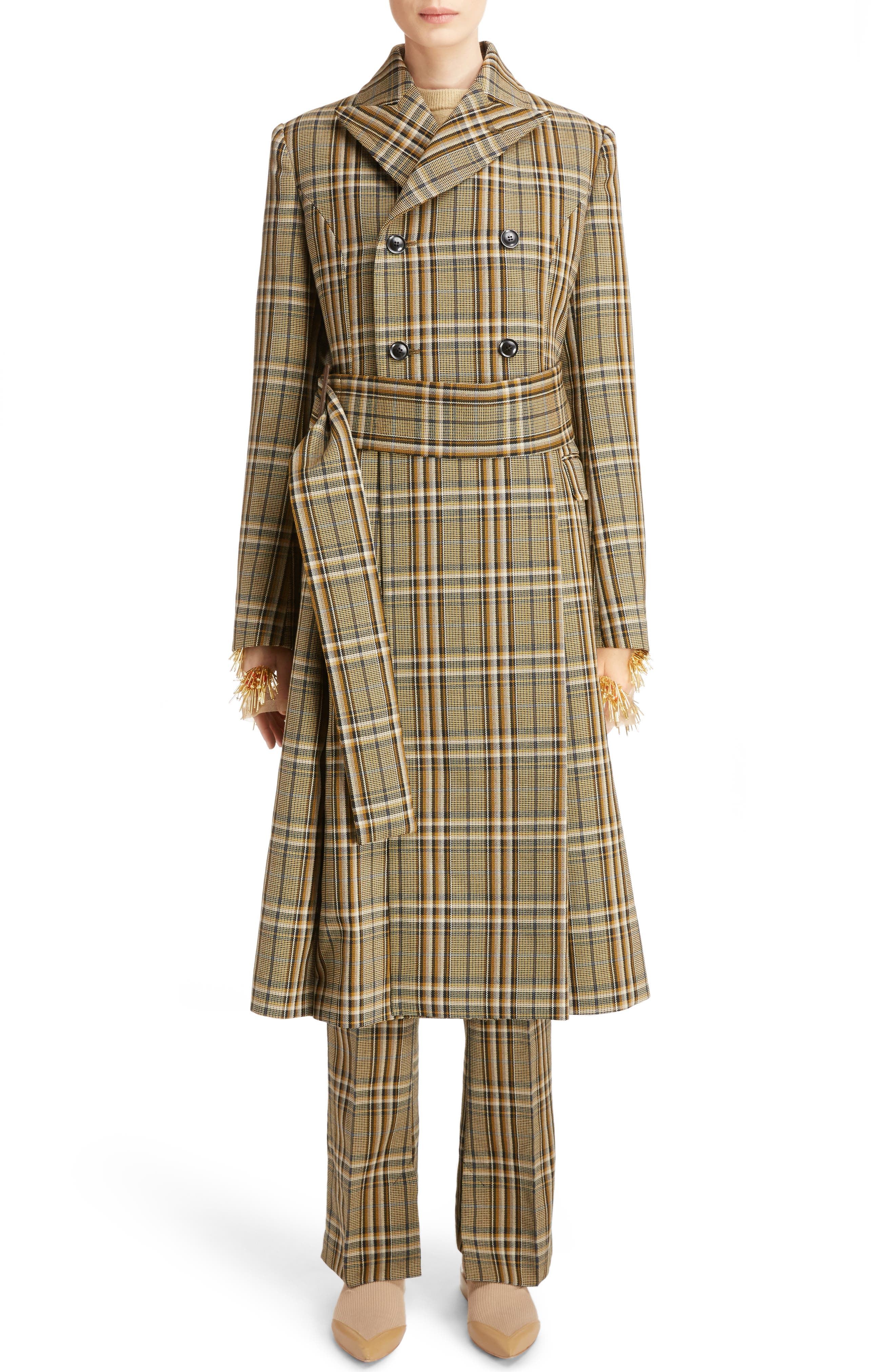 TOGA Check Double Breasted Wool Coat