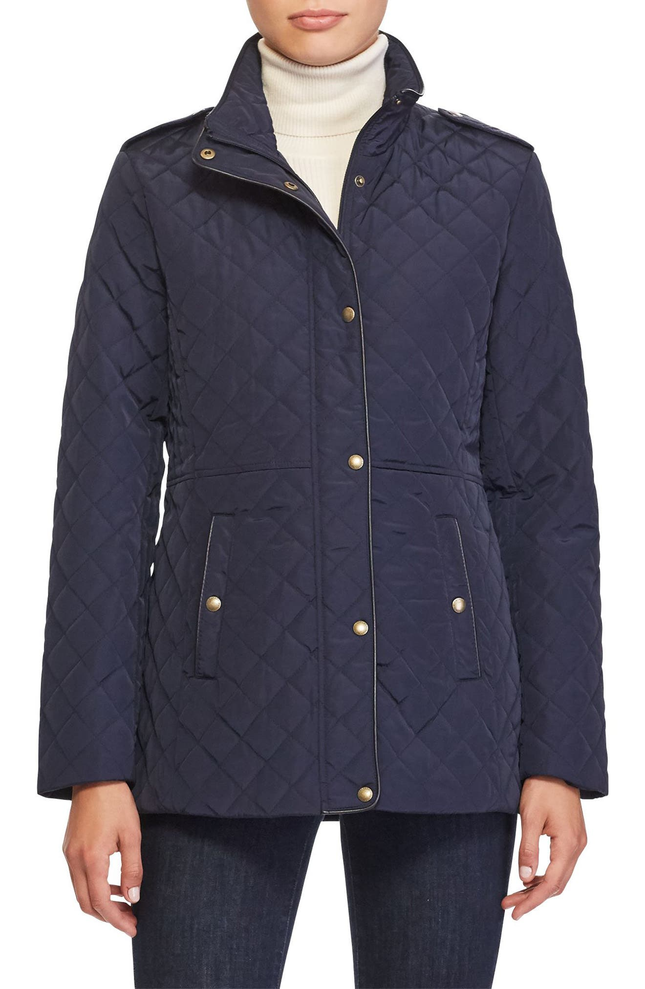 Quilted Field Jacket,                         Main,                         color, Dark Navy