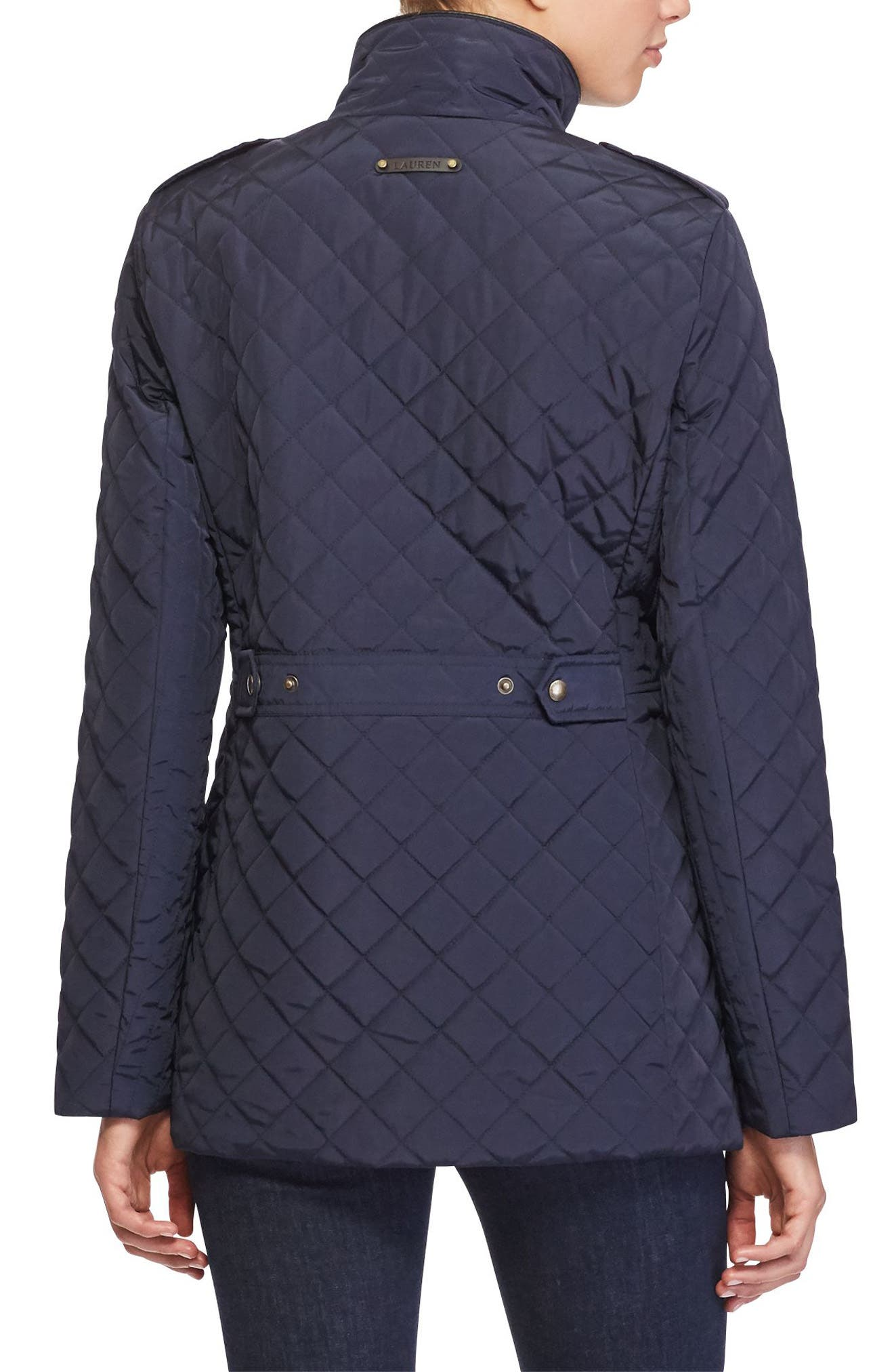 Quilted Field Jacket,                             Alternate thumbnail 3, color,                             Dark Navy