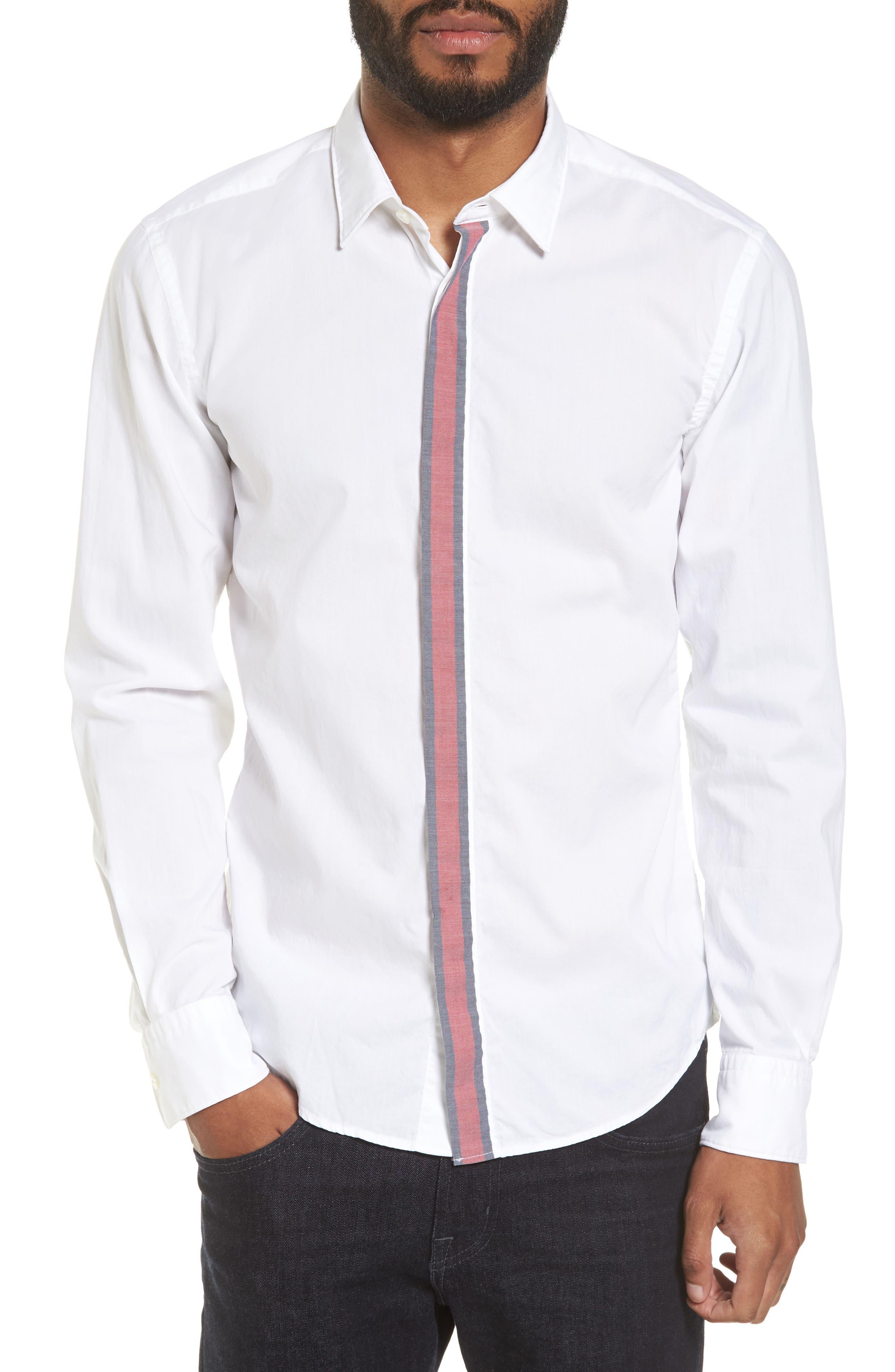 Reid Slim Fit Contrast Placket Sport Shirt,                         Main,                         color, White
