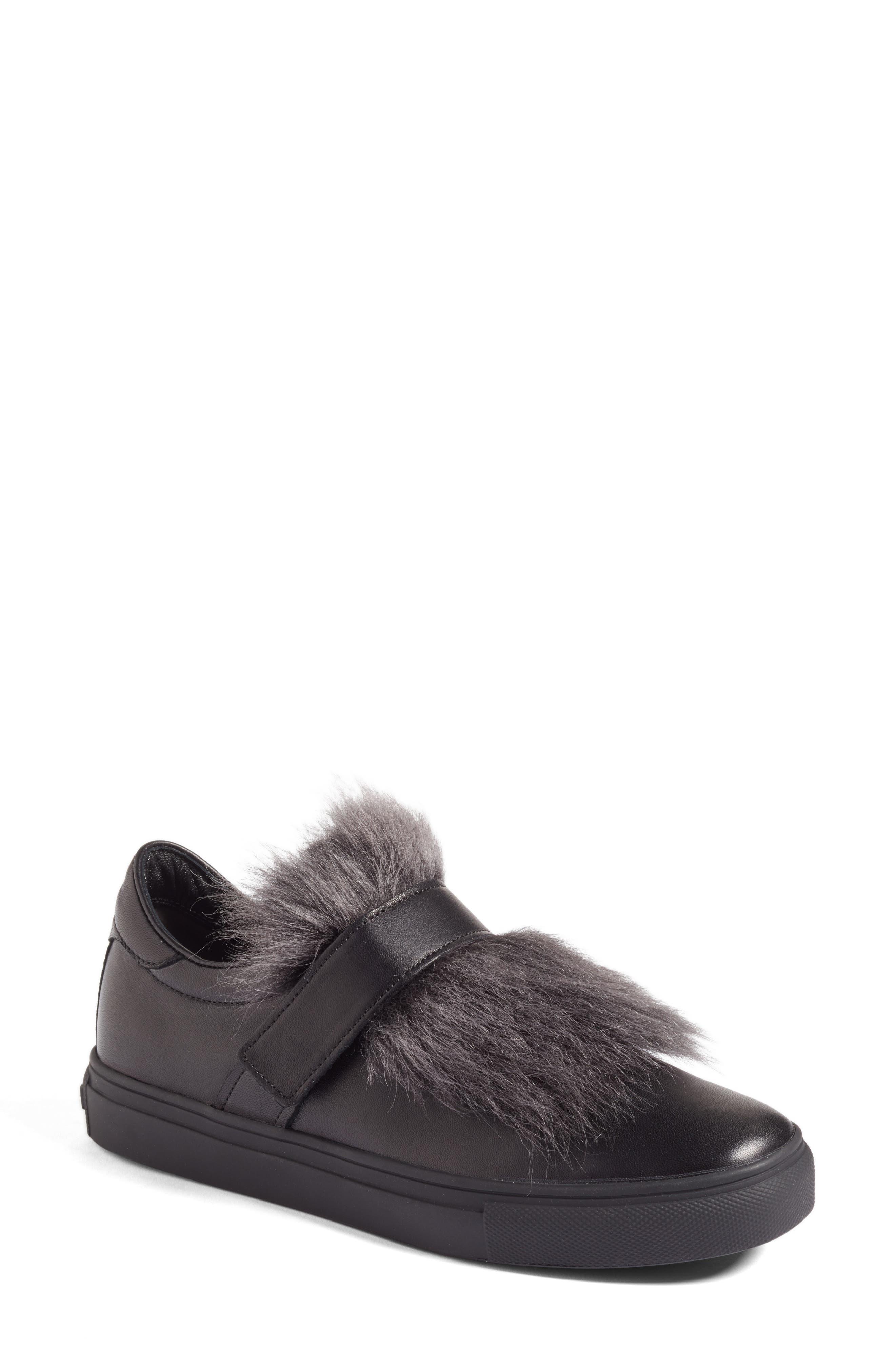 Kennel & Schmenger Basket Slip-On Sneaker with Genuine Shearling Trim,                             Main thumbnail 1, color,                             Black