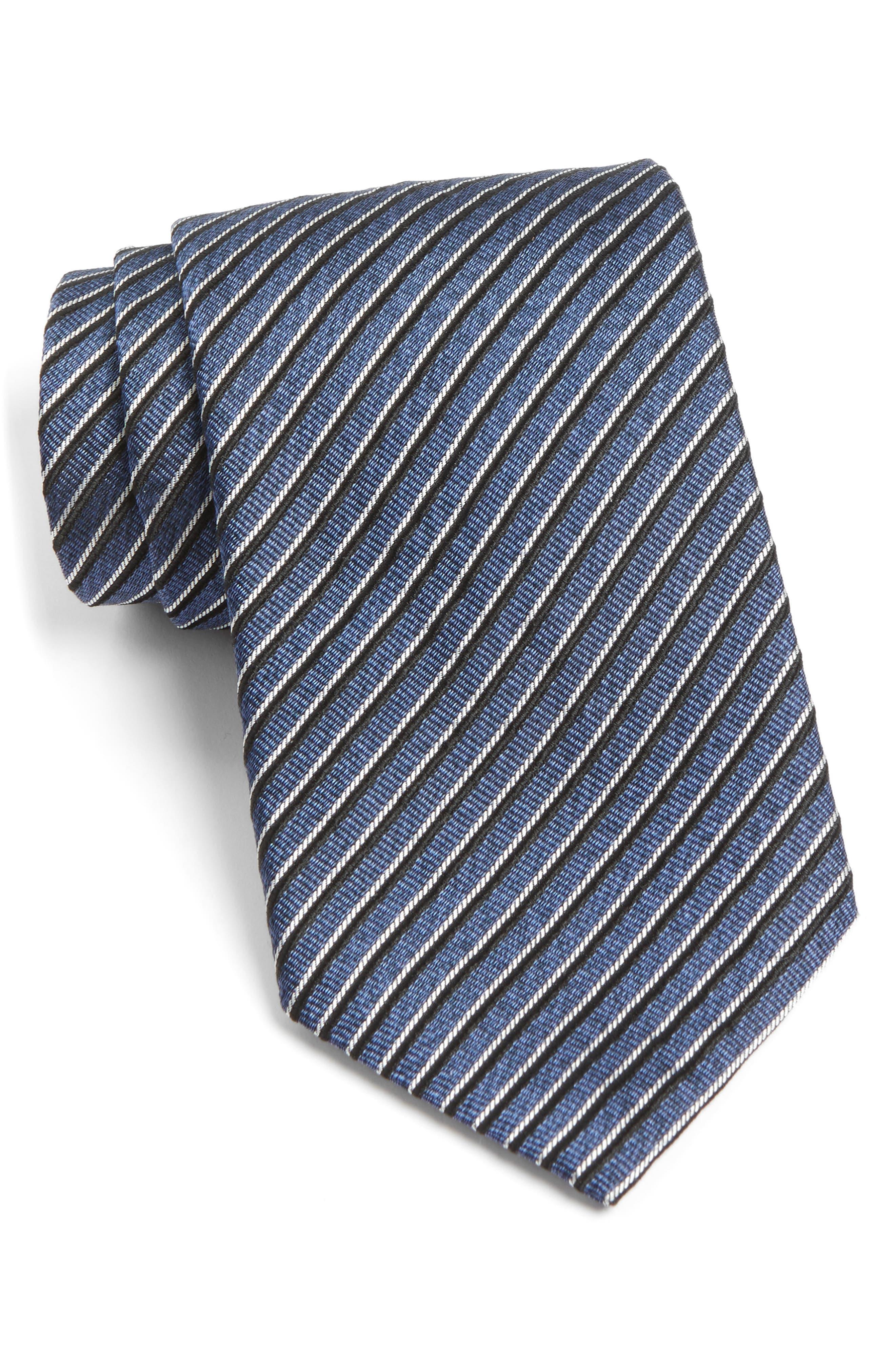 Stripe Silk Tie,                         Main,                         color, Atlantic Blue