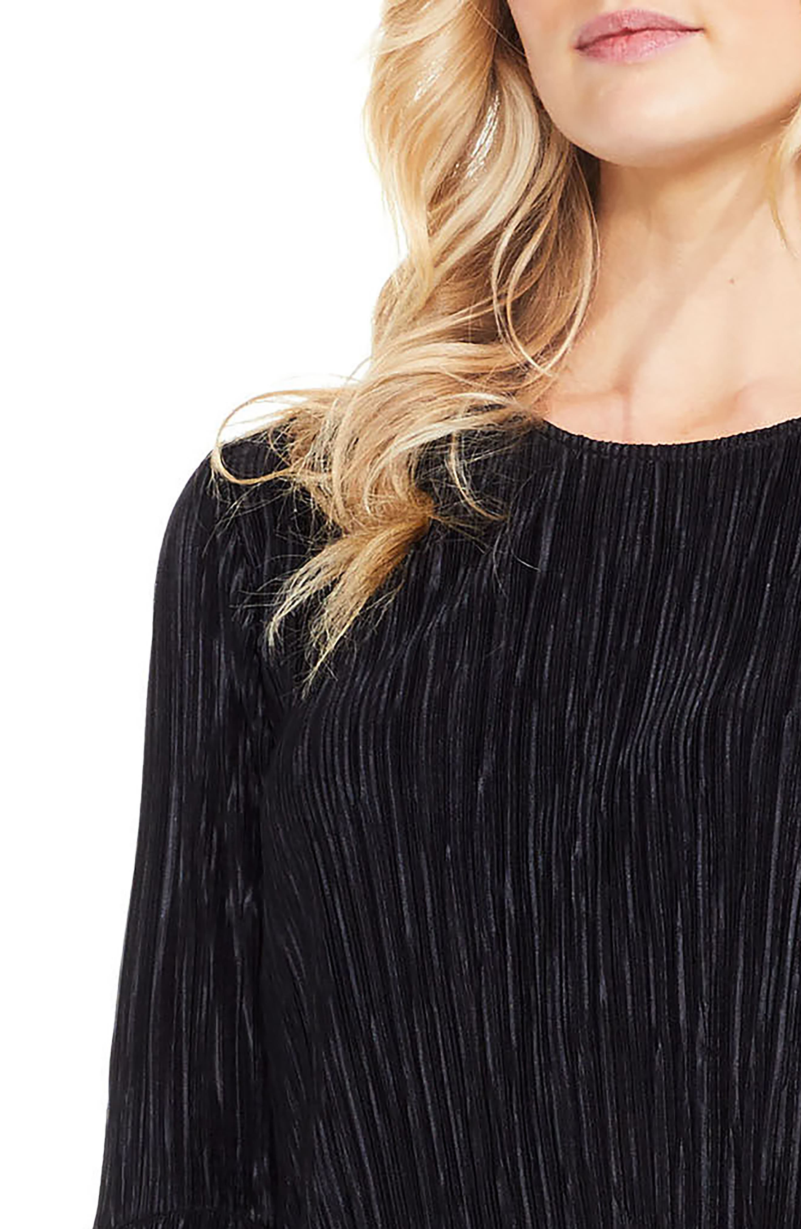 Pleated Knit Top,                         Main,                         color, Rich Black