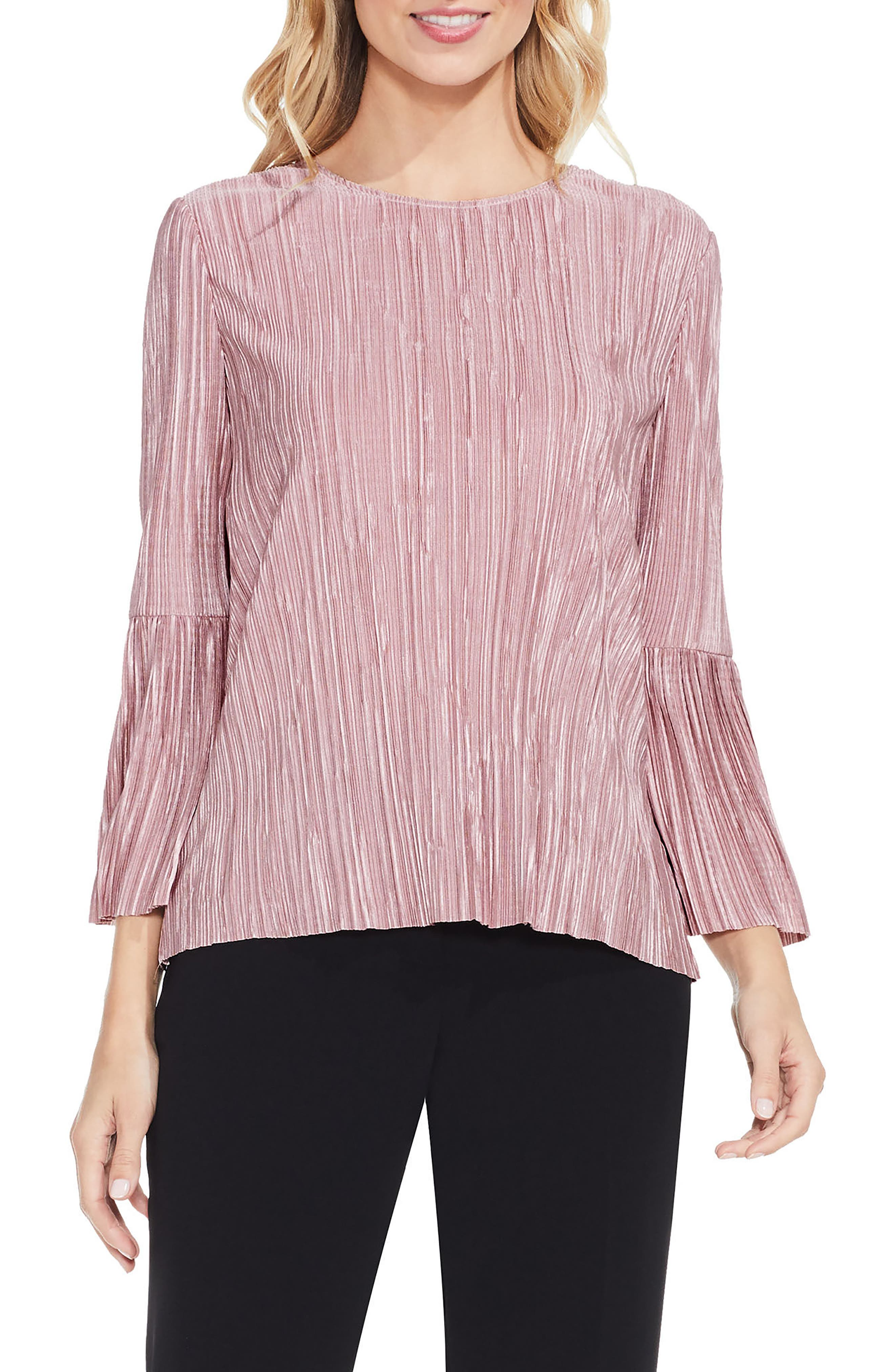 VINCE CAMUTO Pleated Knit Top