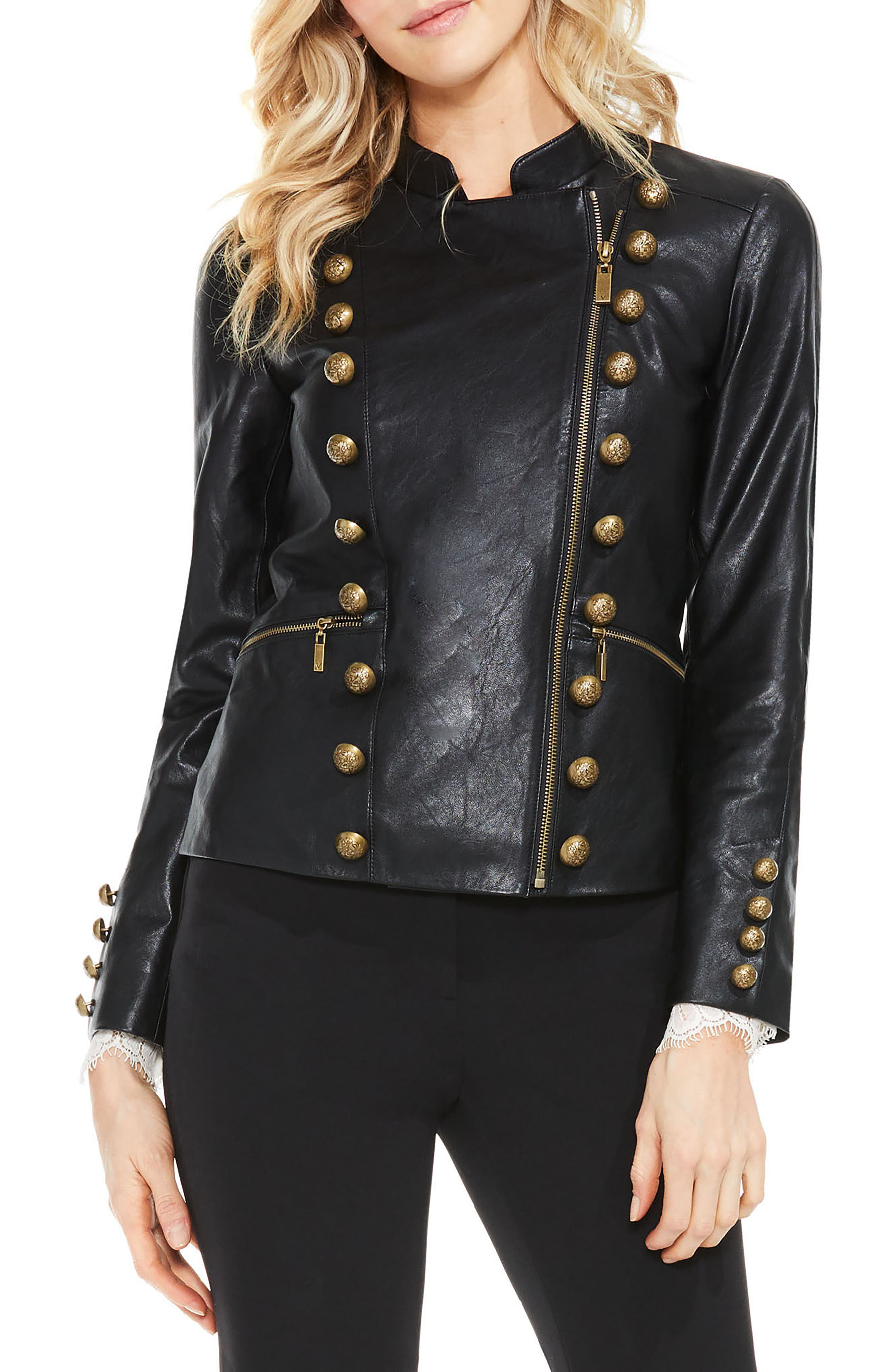 Faux Leather Military Jacket,                         Main,                         color, Rich Black