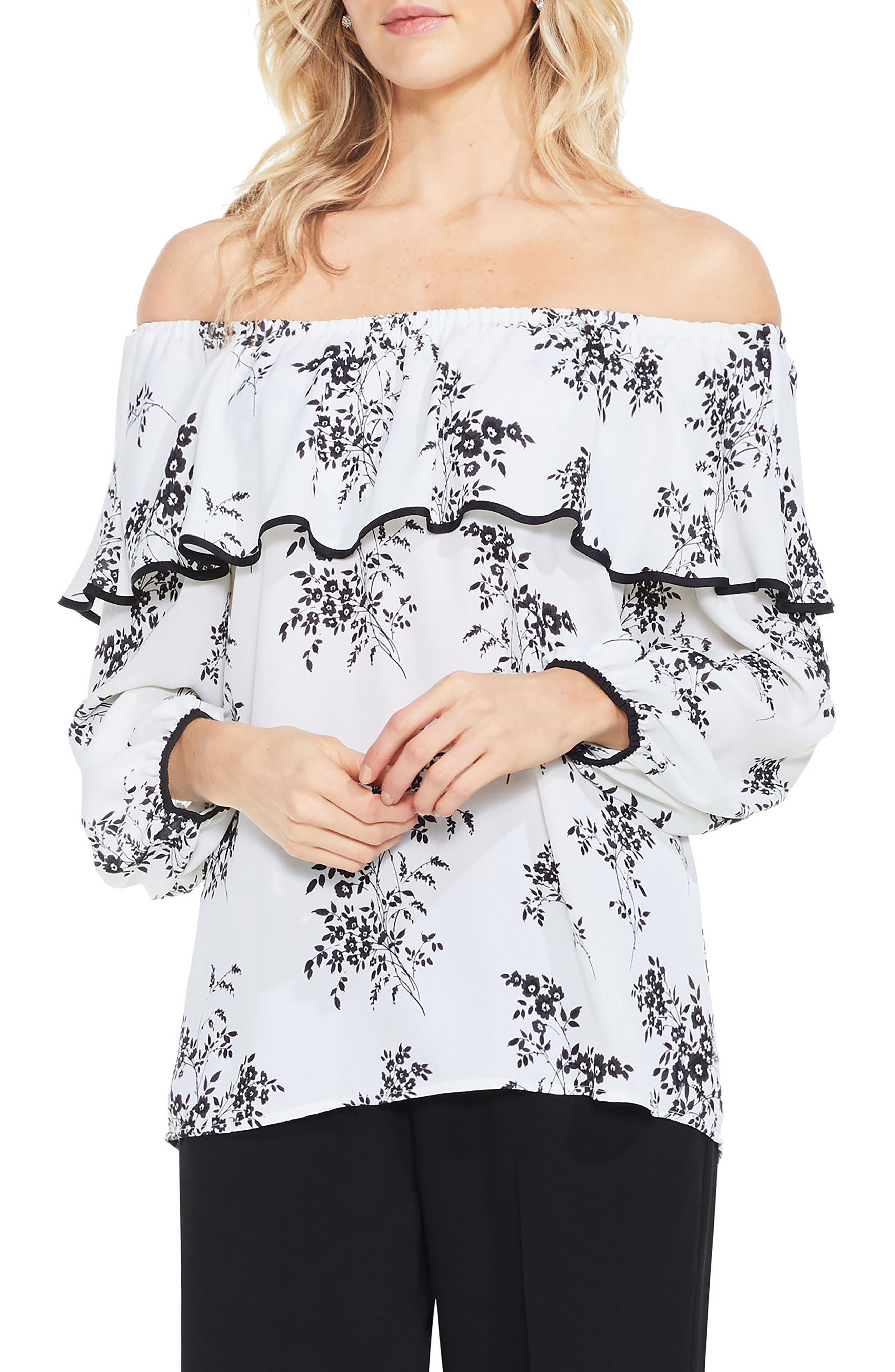 Alternate Image 1 Selected - Vince Camuto Delicate Bouquet Off the Shoulder Blouse