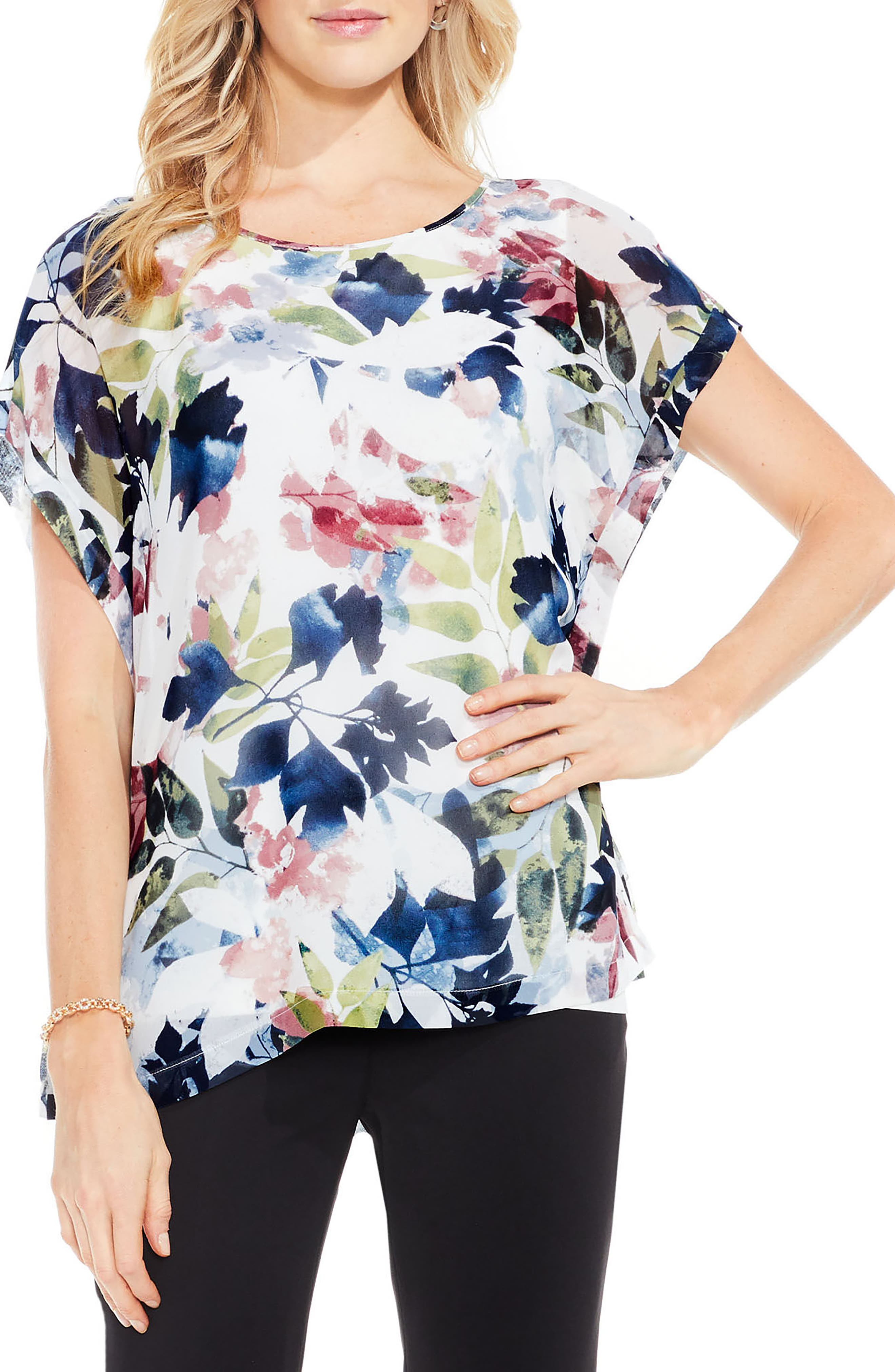 Garden Expressions Cap Sleeve Crepe Blouse,                         Main,                         color, Pearl Ivory