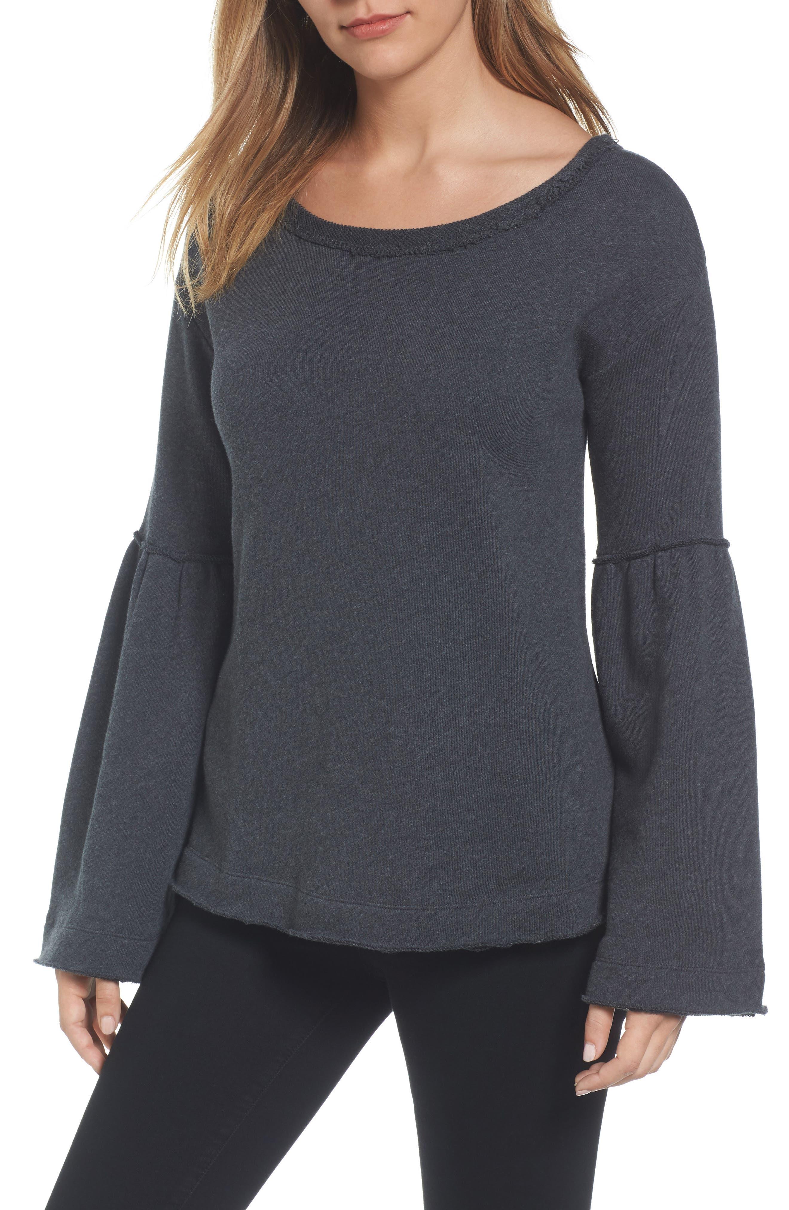 Caslon® Bell Sleeve Sweatshirt (Regular & Petite)