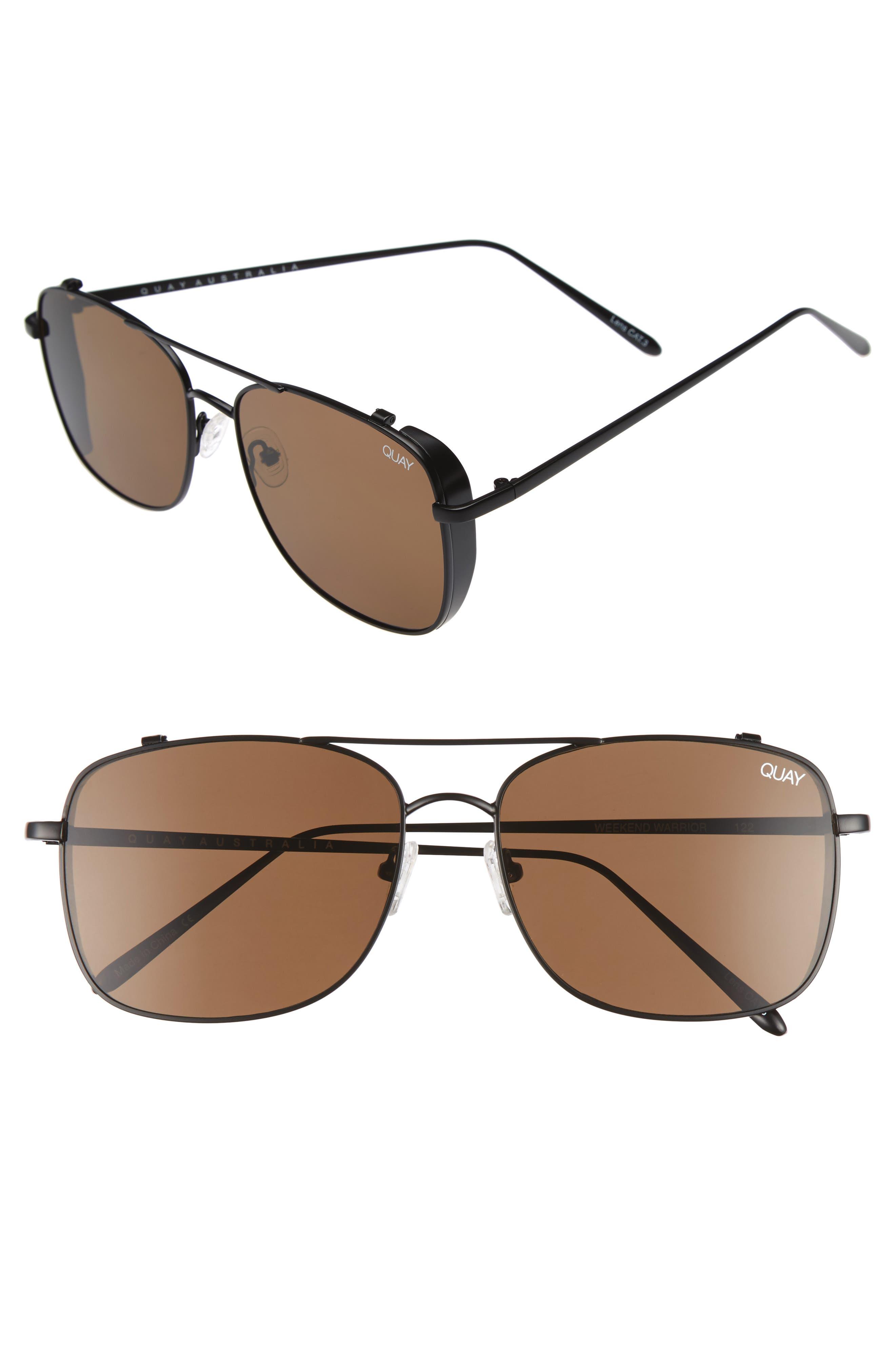 Weekend Warrior 60mm Navigator Sunglasses,                             Main thumbnail 1, color,                             Black/ Brown