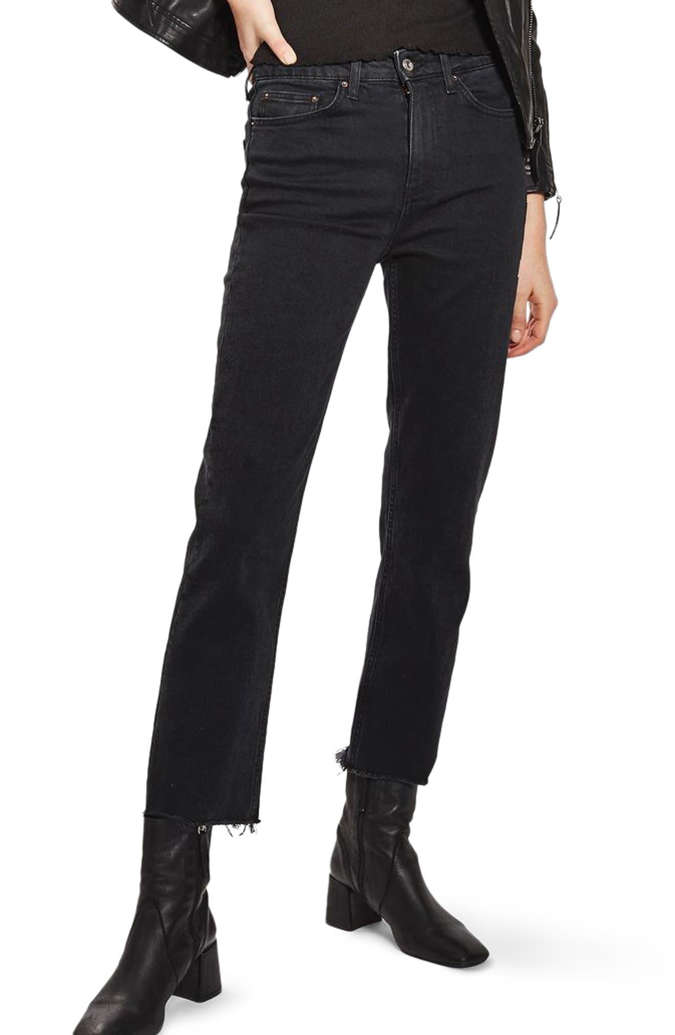 Raw Hem Straight Leg Jeans,                         Main,                         color, Washed Black