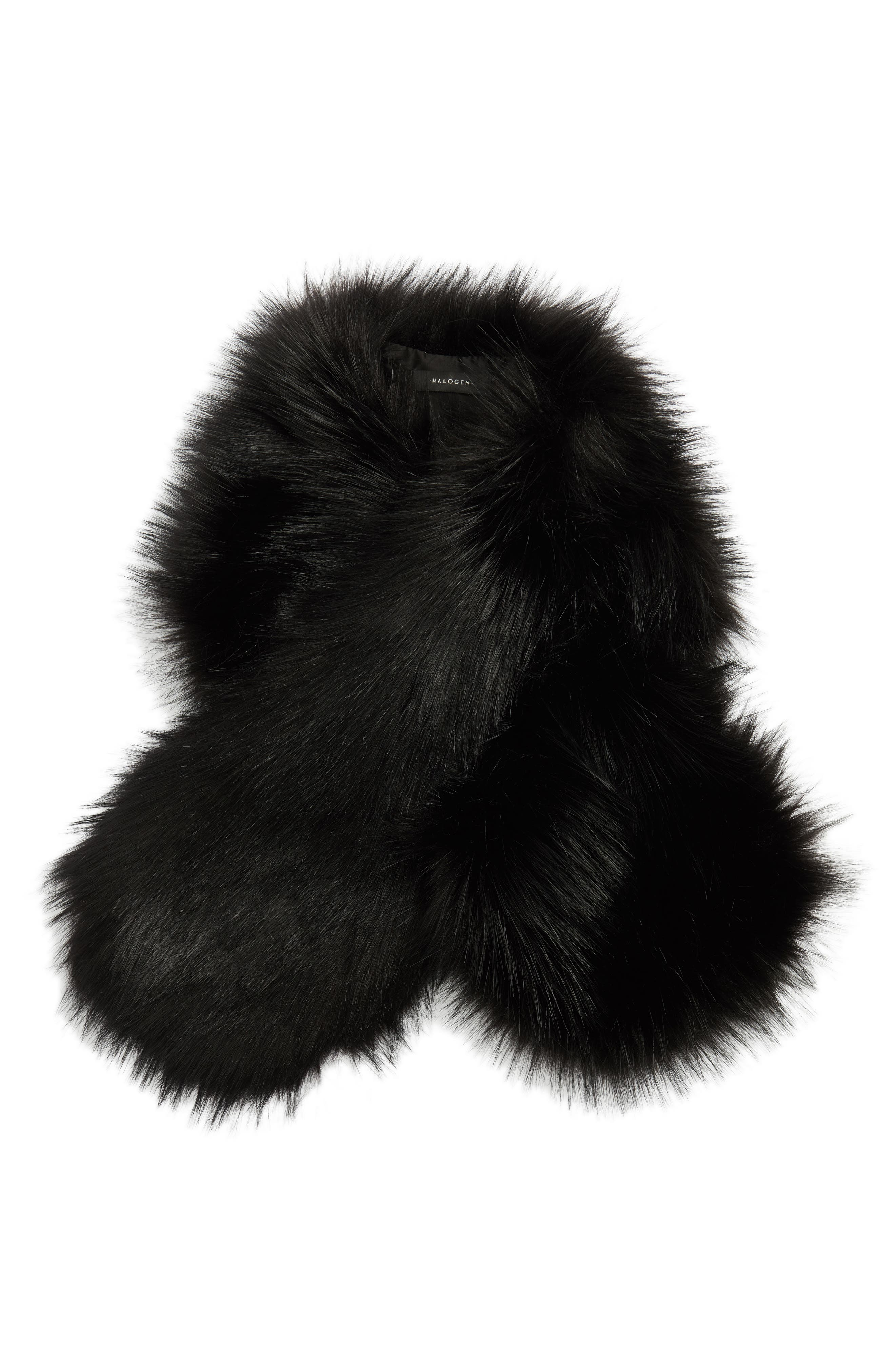 Faux Fur Stole,                             Alternate thumbnail 2, color,                             Black