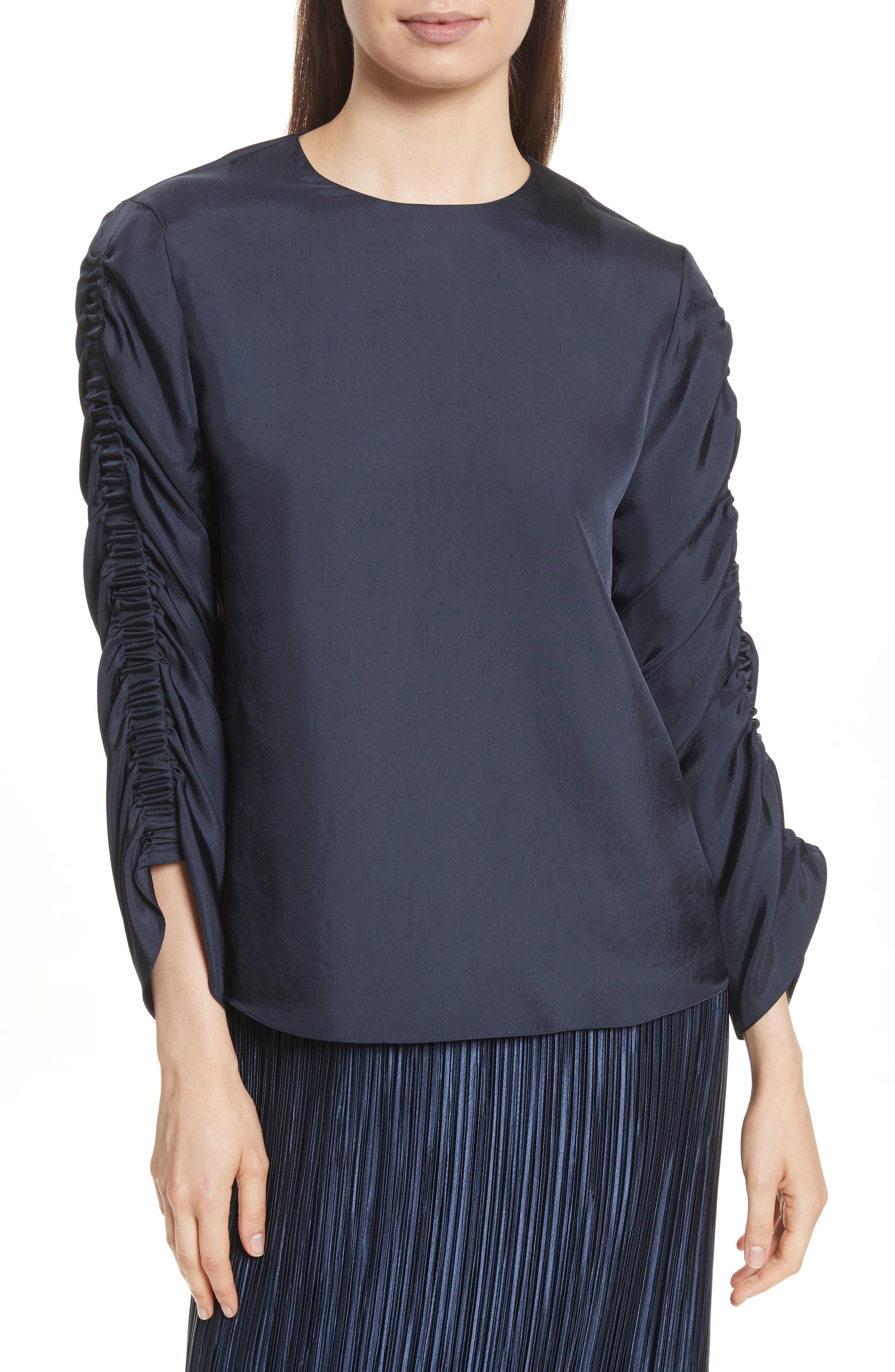Menidini Twill Shirred Top,                         Main,                         color, Navy