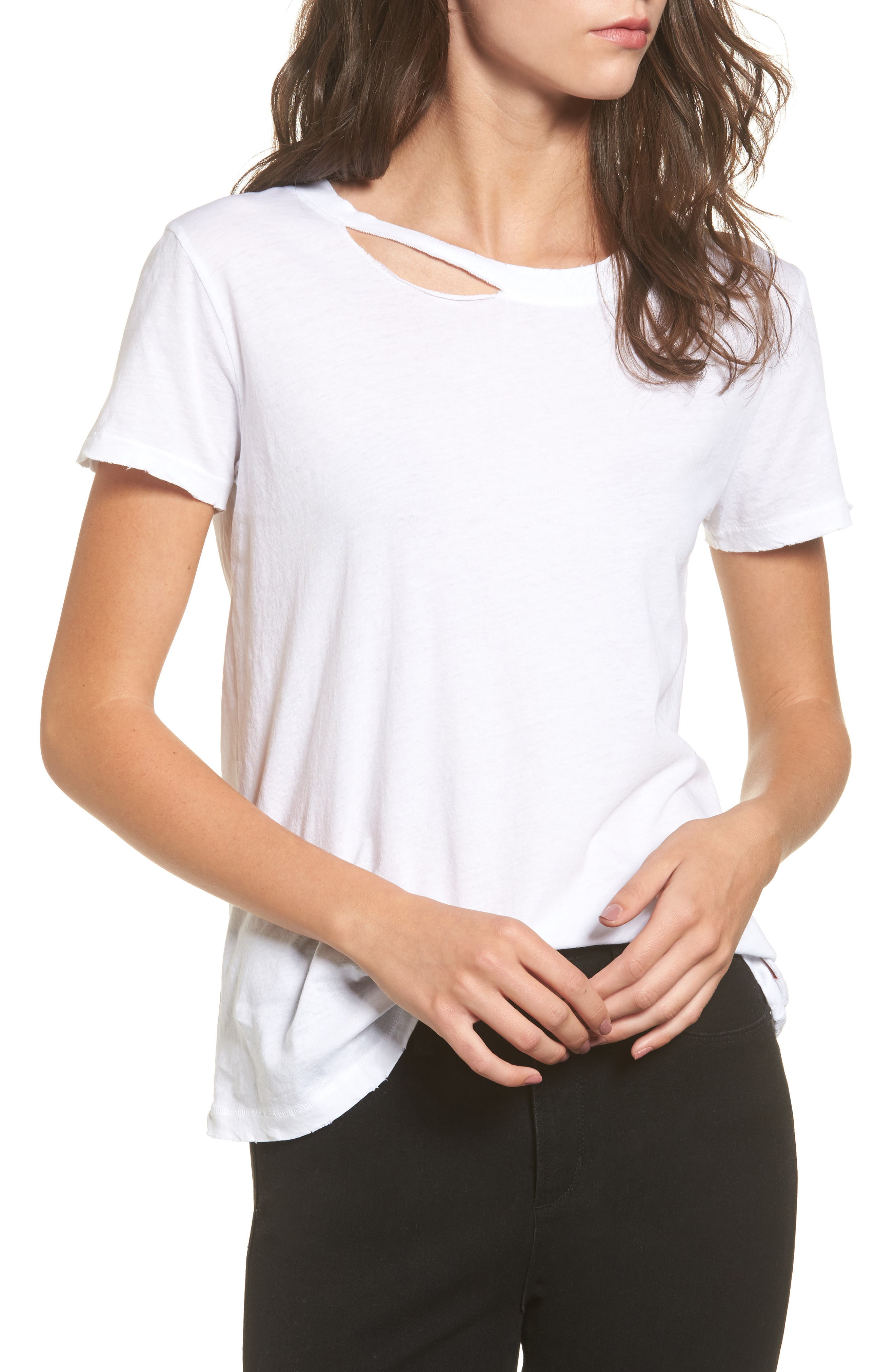 Harlow Distressed BFF Tee,                             Main thumbnail 1, color,                             White