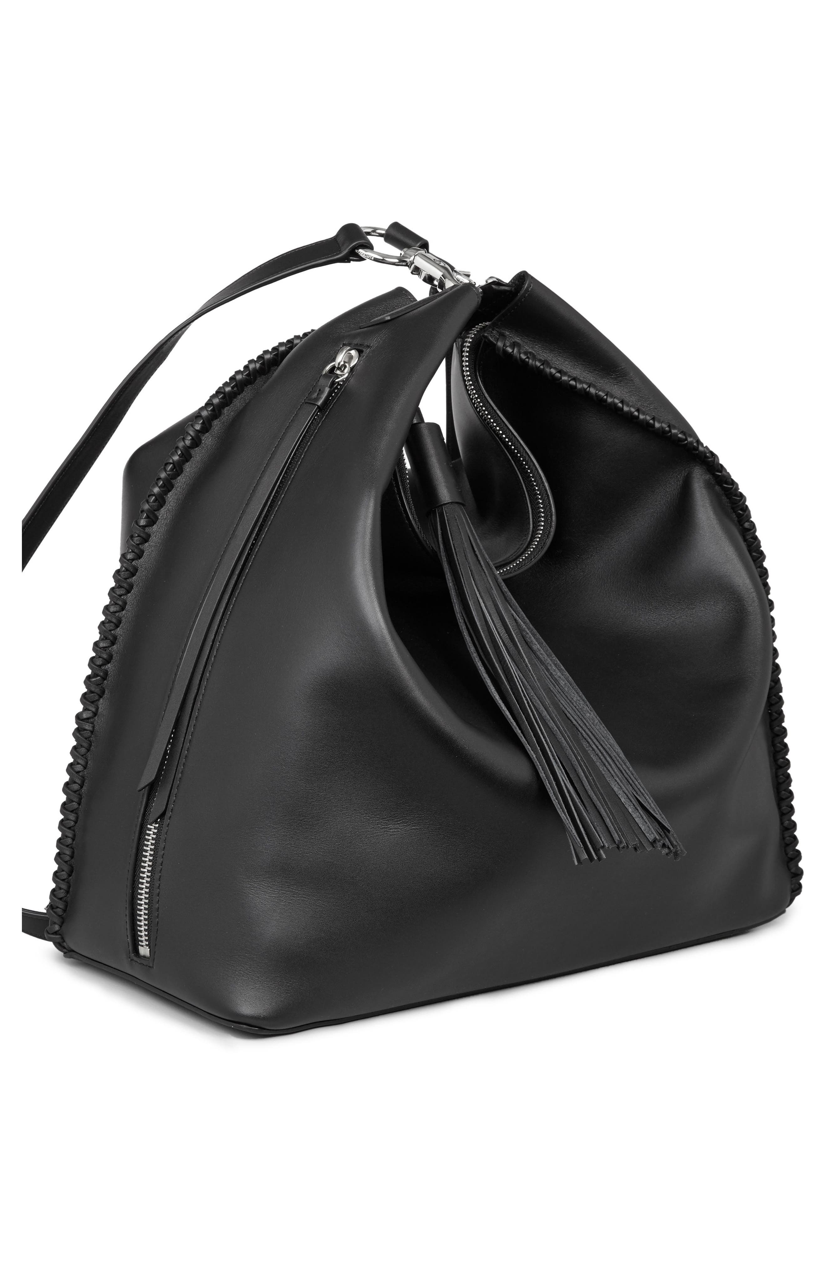 Pearl Convertible Leather Backpack,                             Alternate thumbnail 8, color,                             Black