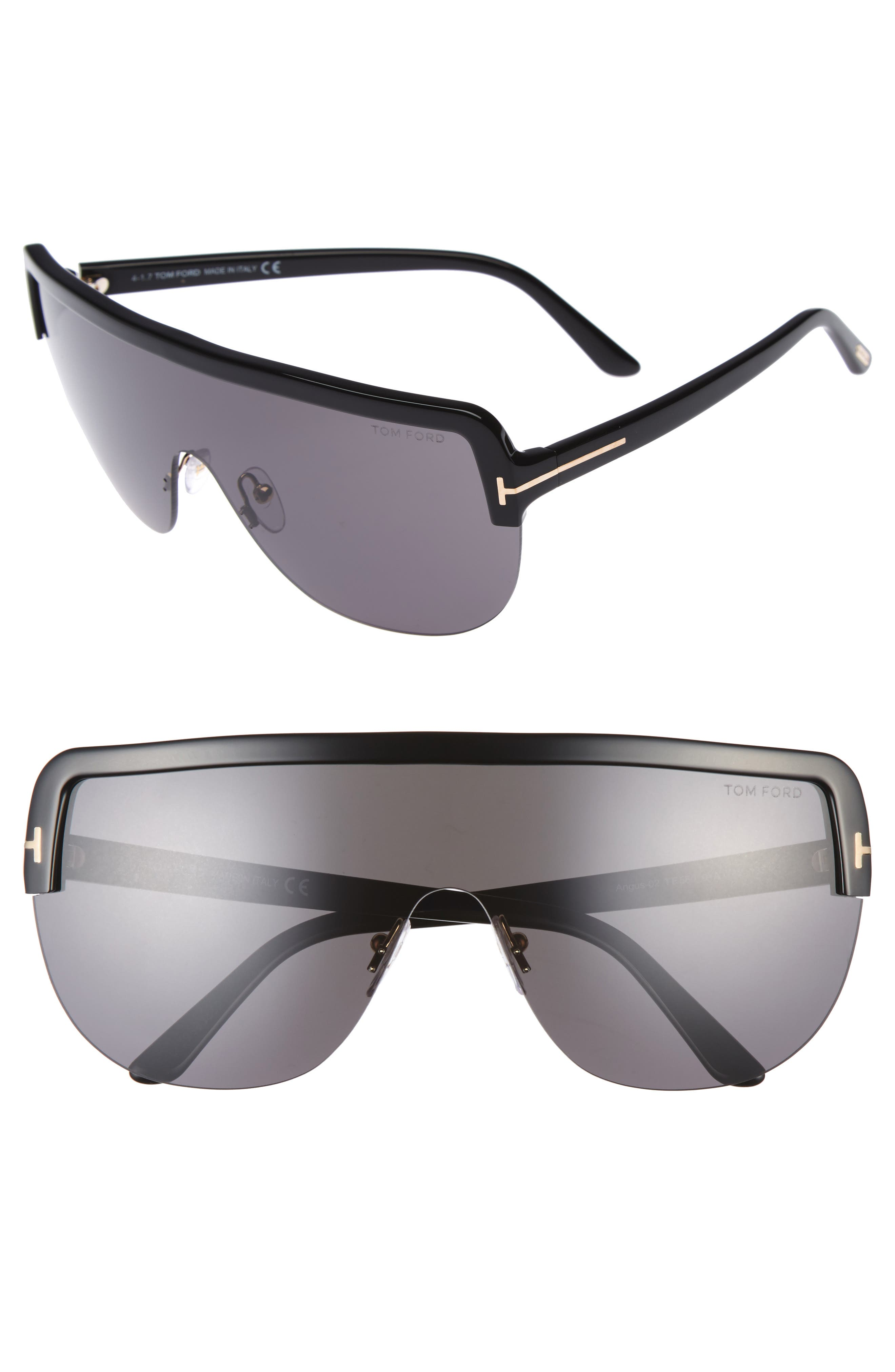 Tom Ford Angus 66mm Shield Sunglasses