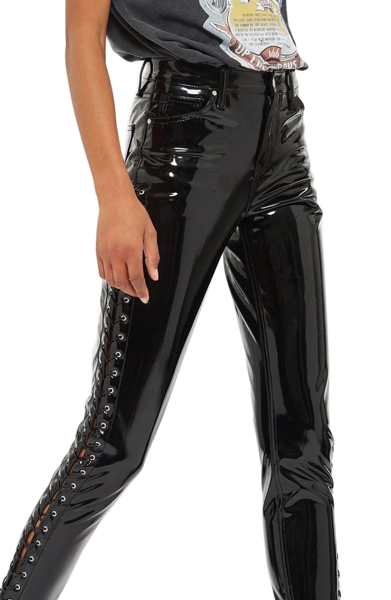 Topshop Jamie Side Lace-Up Vinyl Skinny Pants