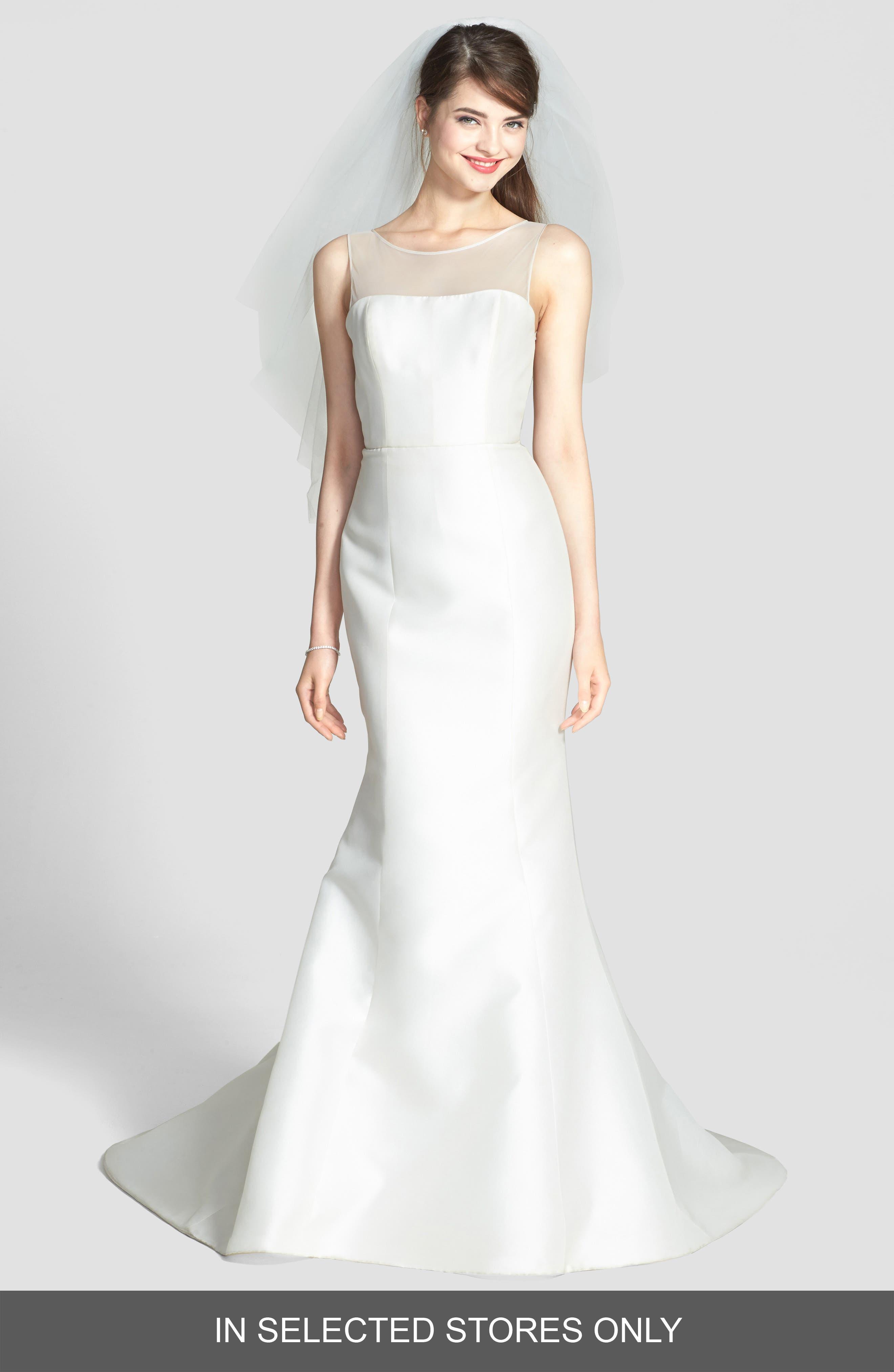 AMSALE Preston Silk Magnolia Sheath Wedding Dress in Ivory