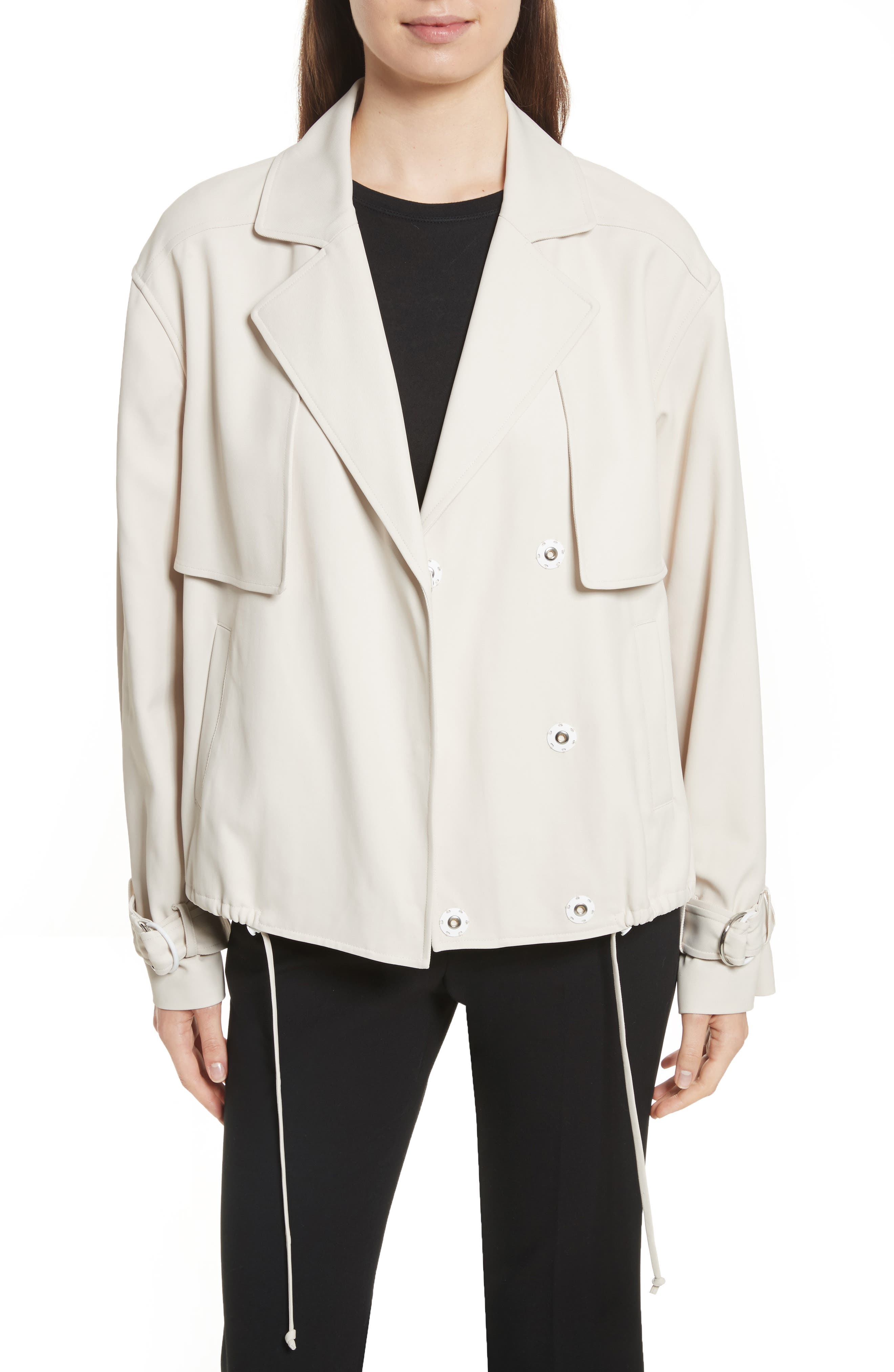 Trench Moto Jacket,                         Main,                         color, Oatmeal
