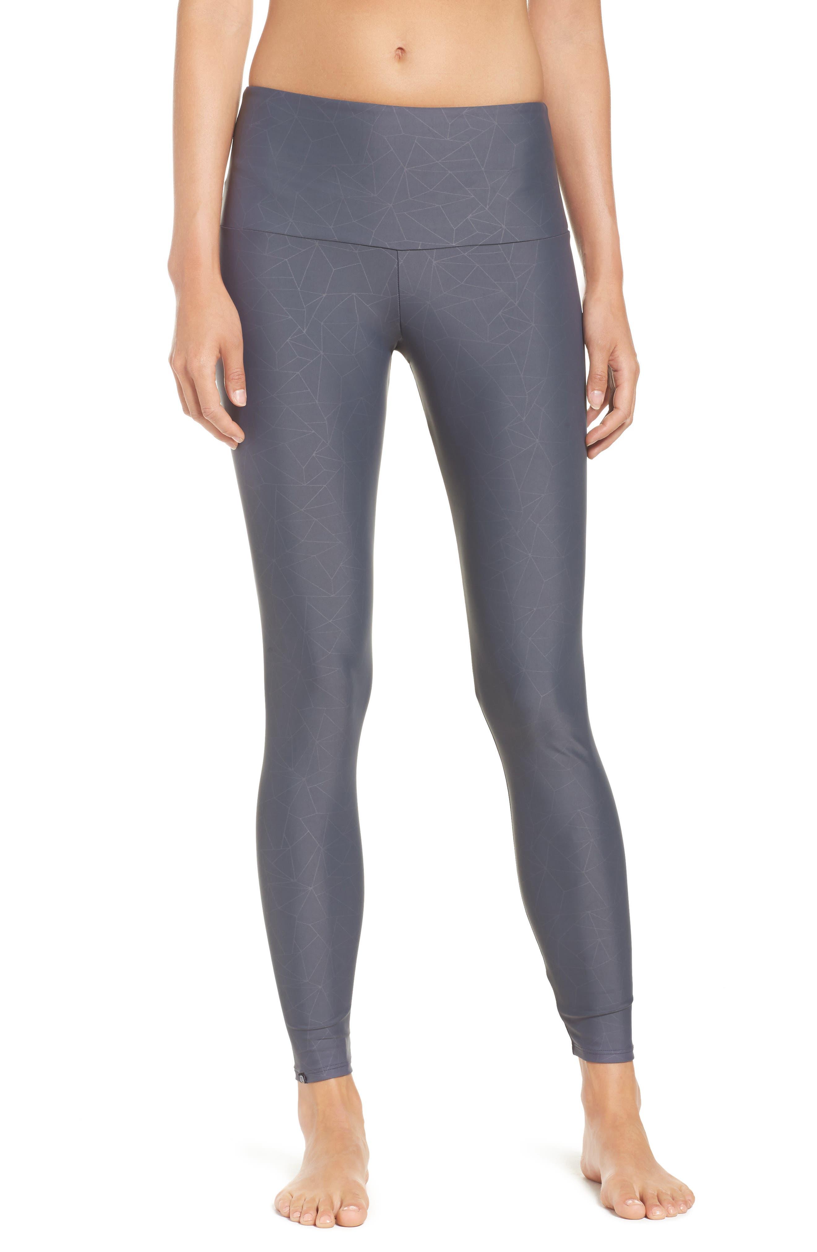 High Waist Print Leggings,                         Main,                         color, Slate Grey Geo