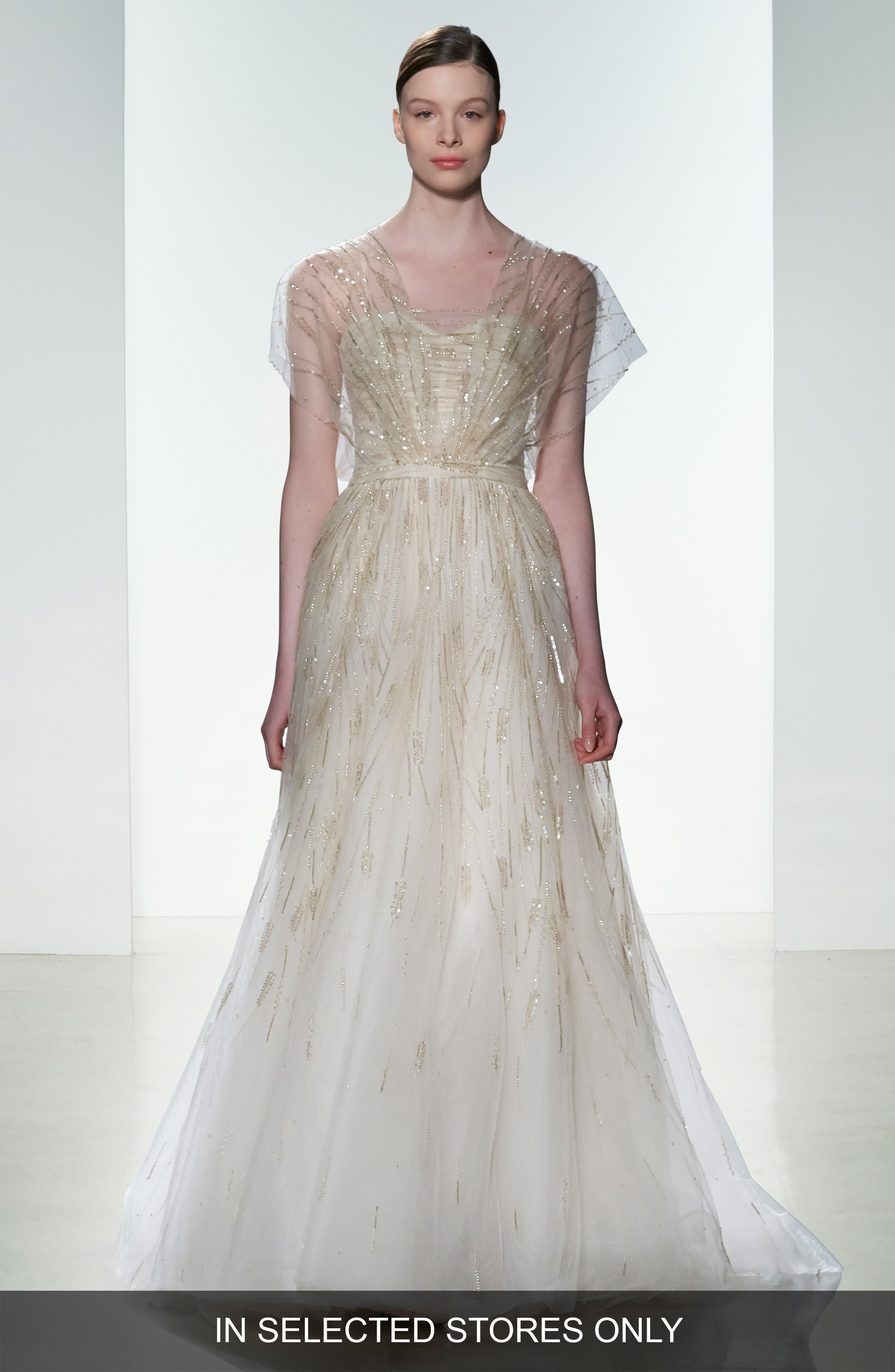 Elaine Organza Overlay Strapless Hand Beaded Tulle Gown,                         Main,                         color, Blush