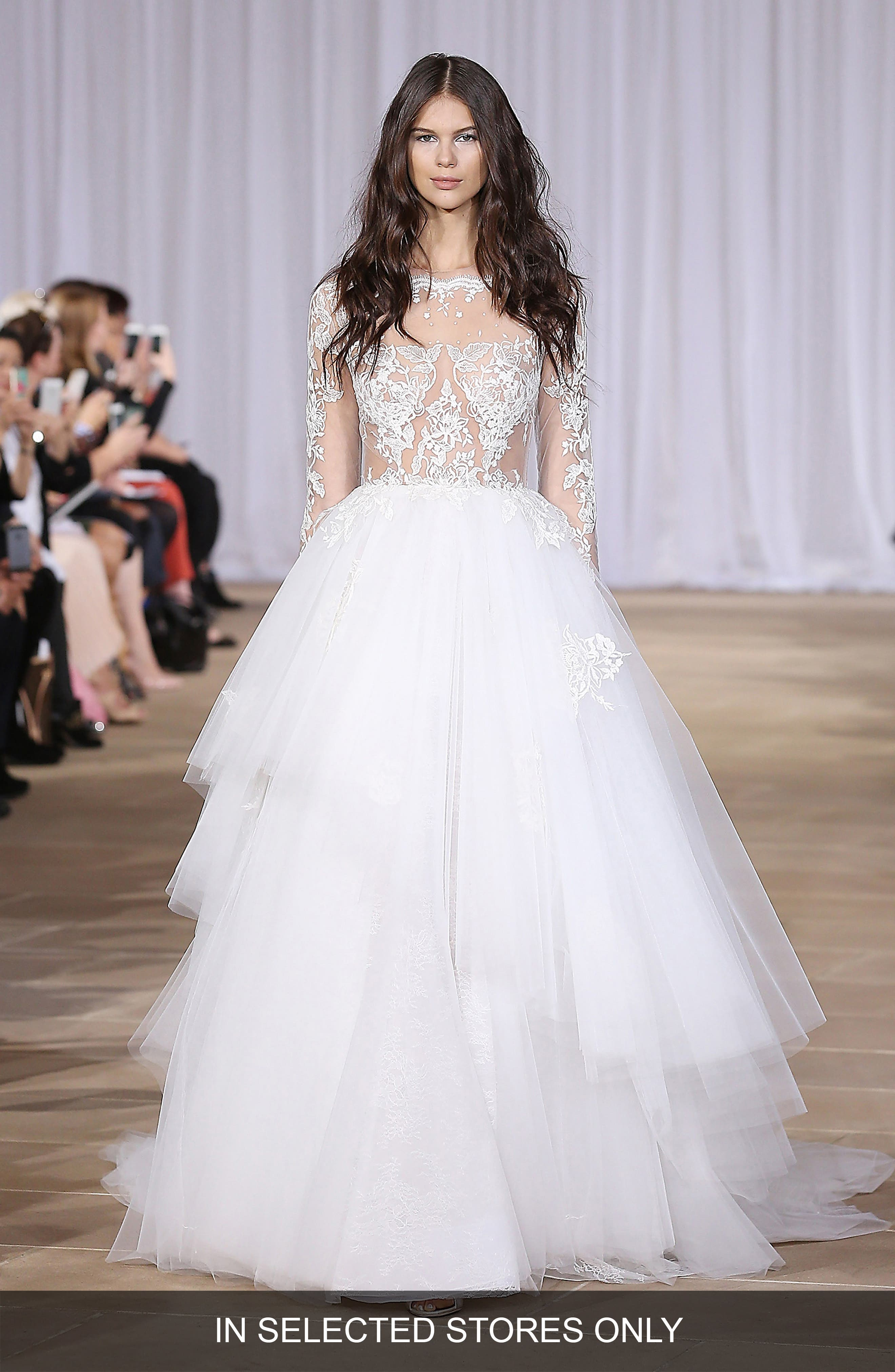 Aliora Embroidered Illusion & Tulle Ballgown,                             Main thumbnail 1, color,                             Off-White
