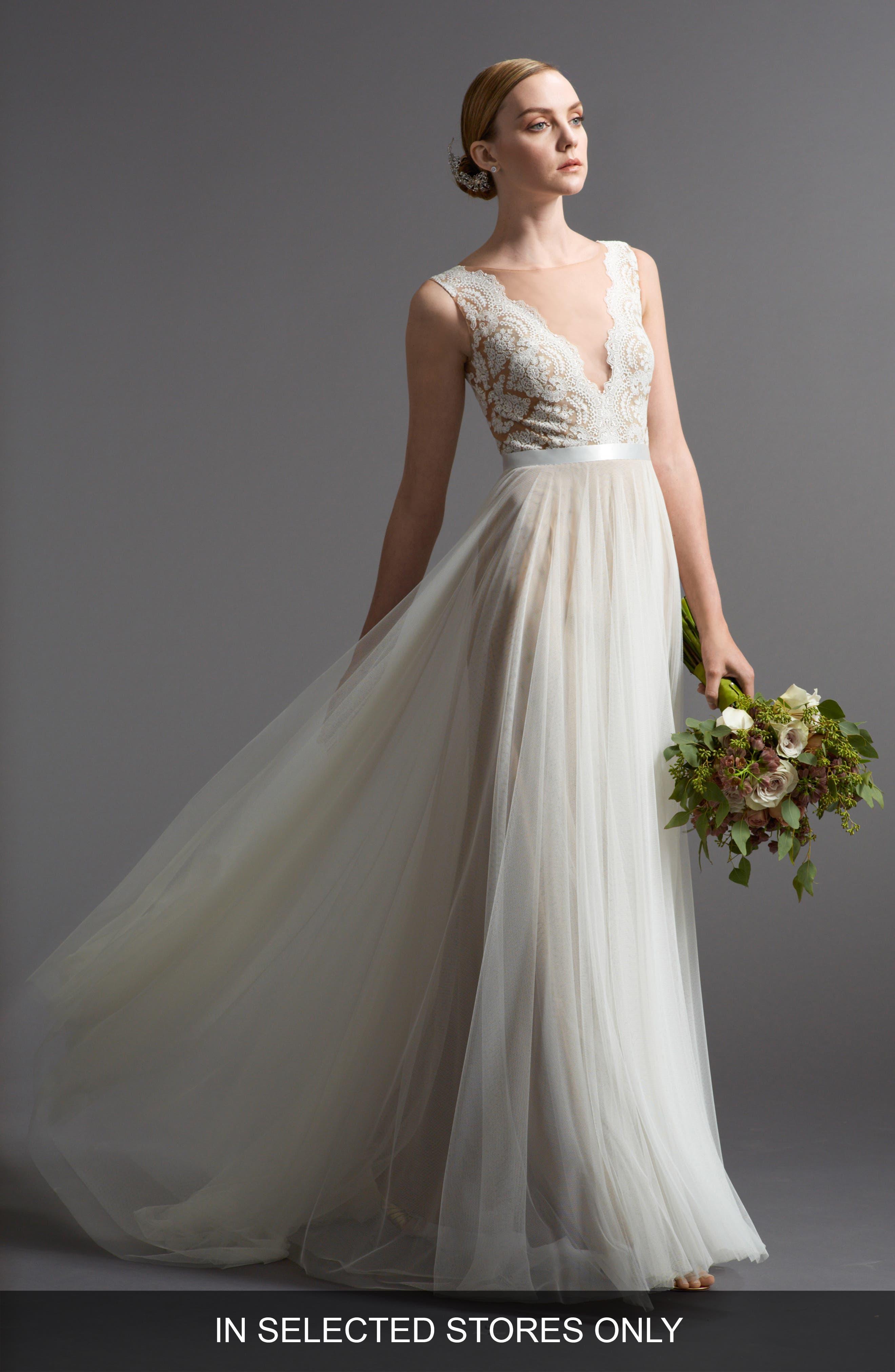 Santina Lace Bodice A-Line Gown,                         Main,                         color, Nude/Ivory/Bronze/Gardenia