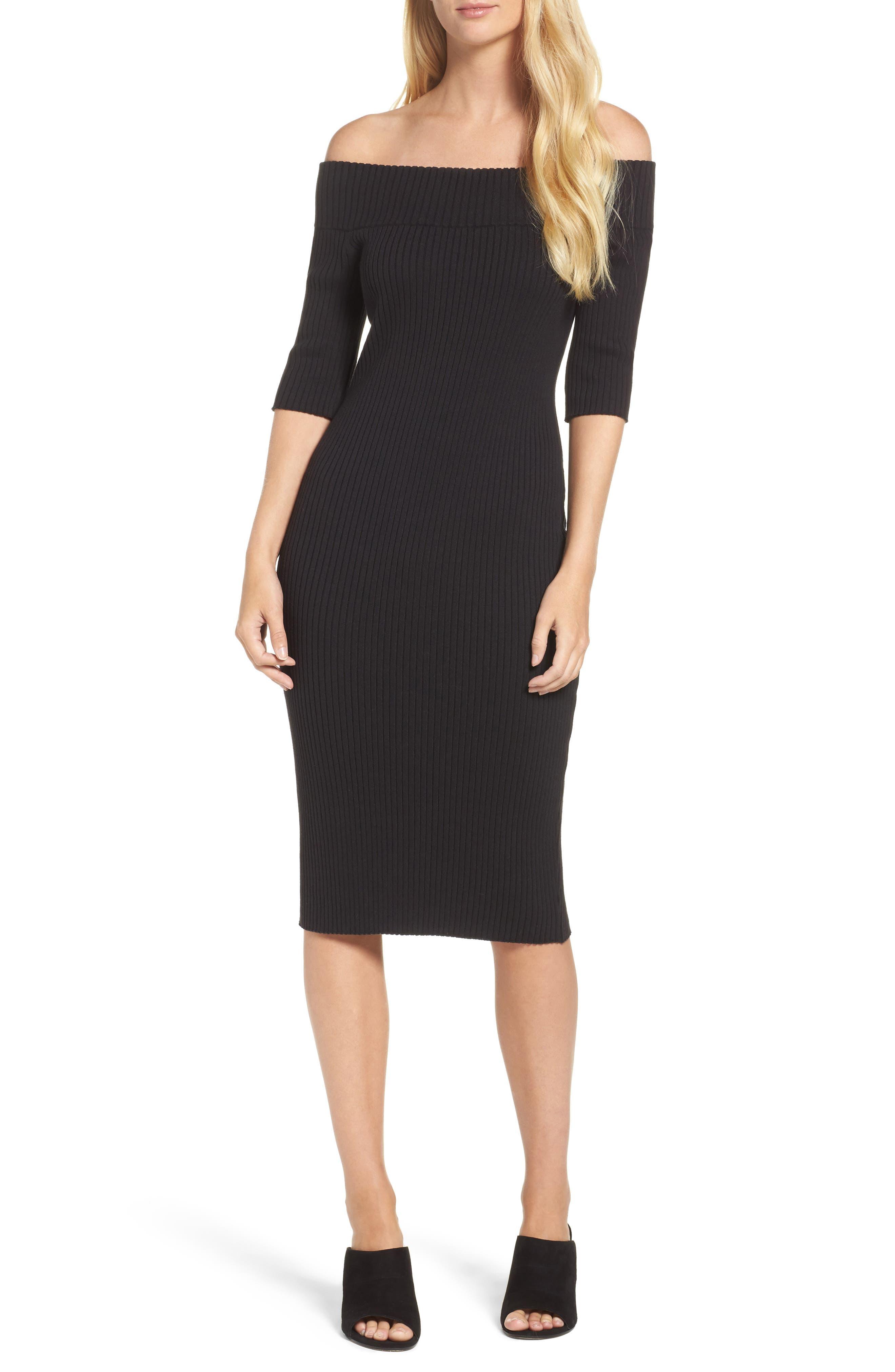 trina Trina Turk Necha Off the Shoulder Body Con Dress,                         Main,                         color, Black