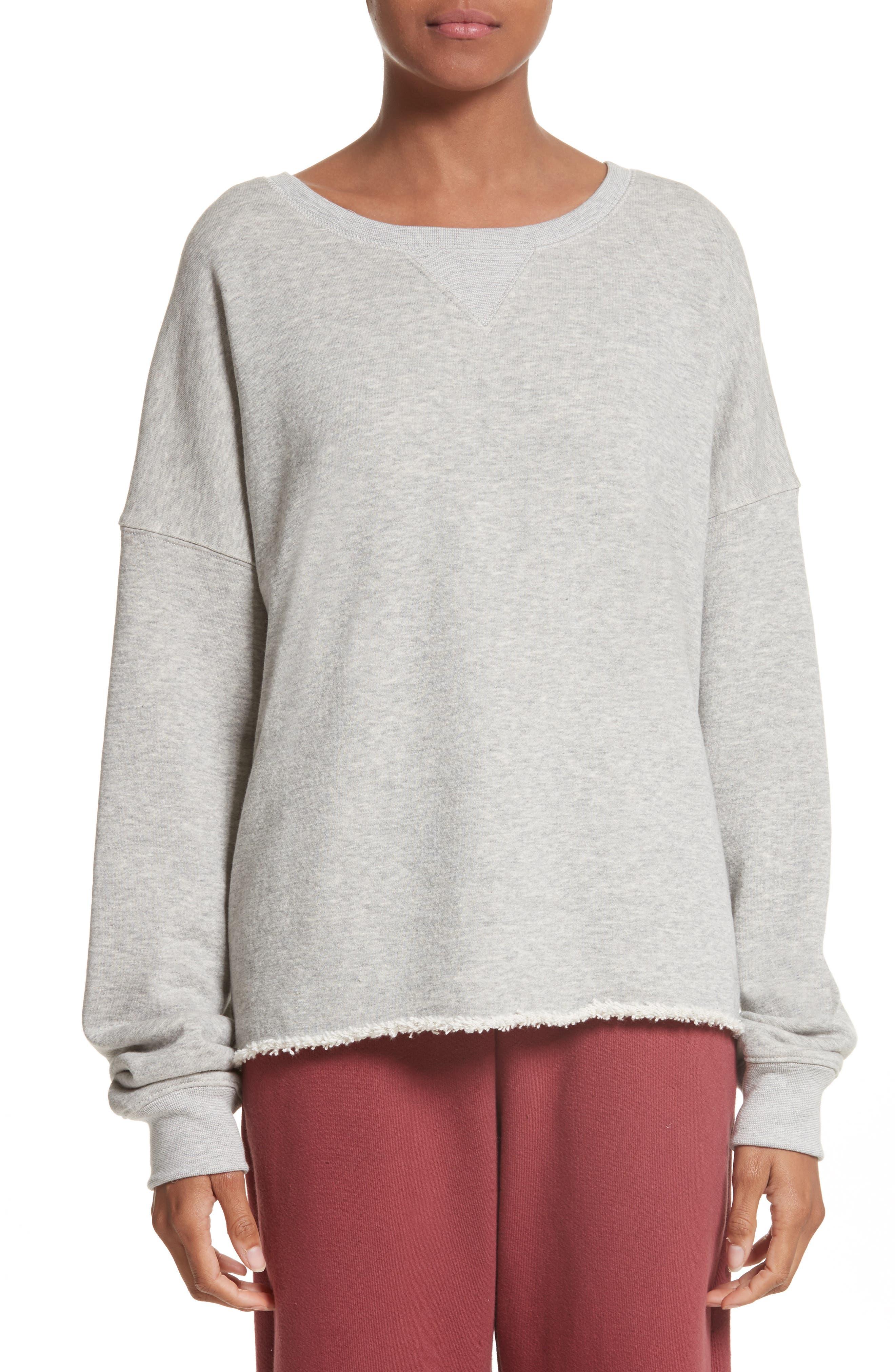 Brushed Terry Sweatshirt,                         Main,                         color, Grey