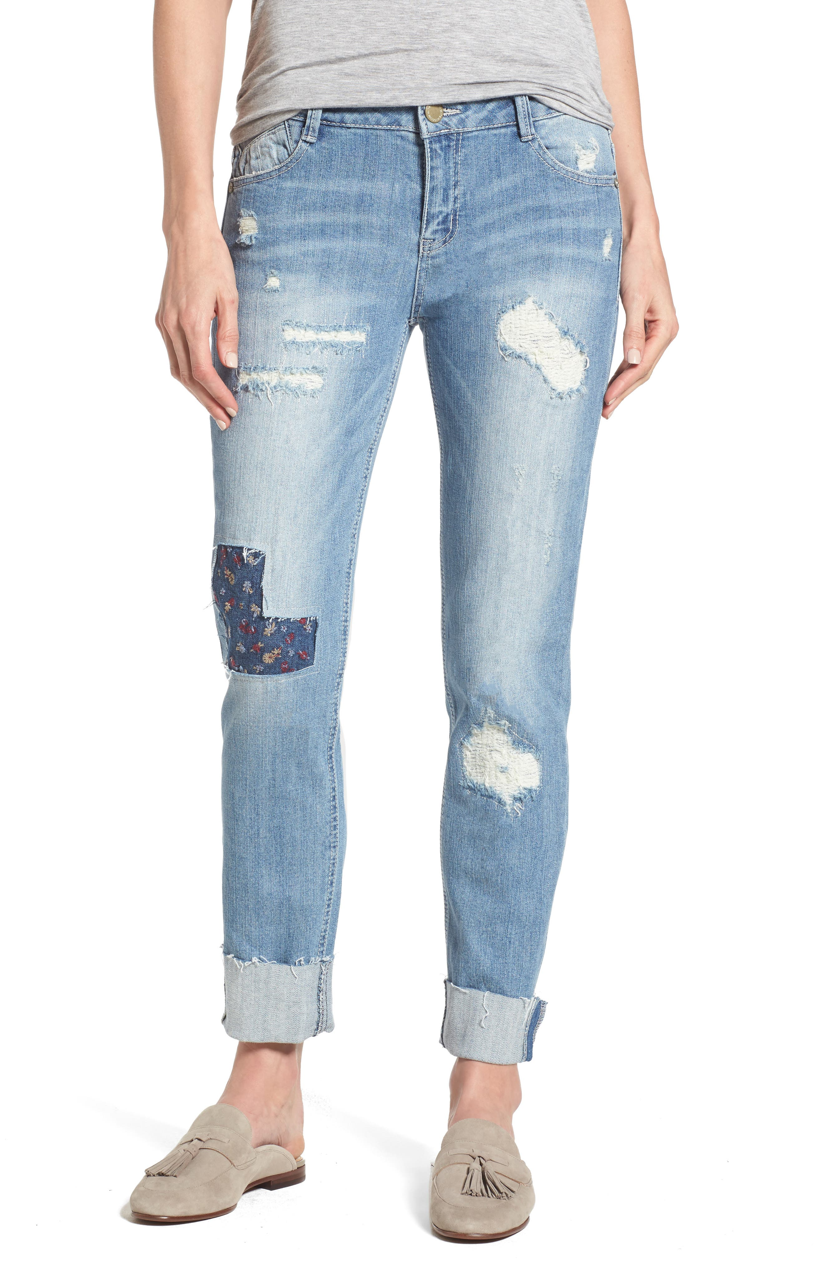 Ripped Girlfriend Jeans,                             Main thumbnail 1, color,                             Light Blue