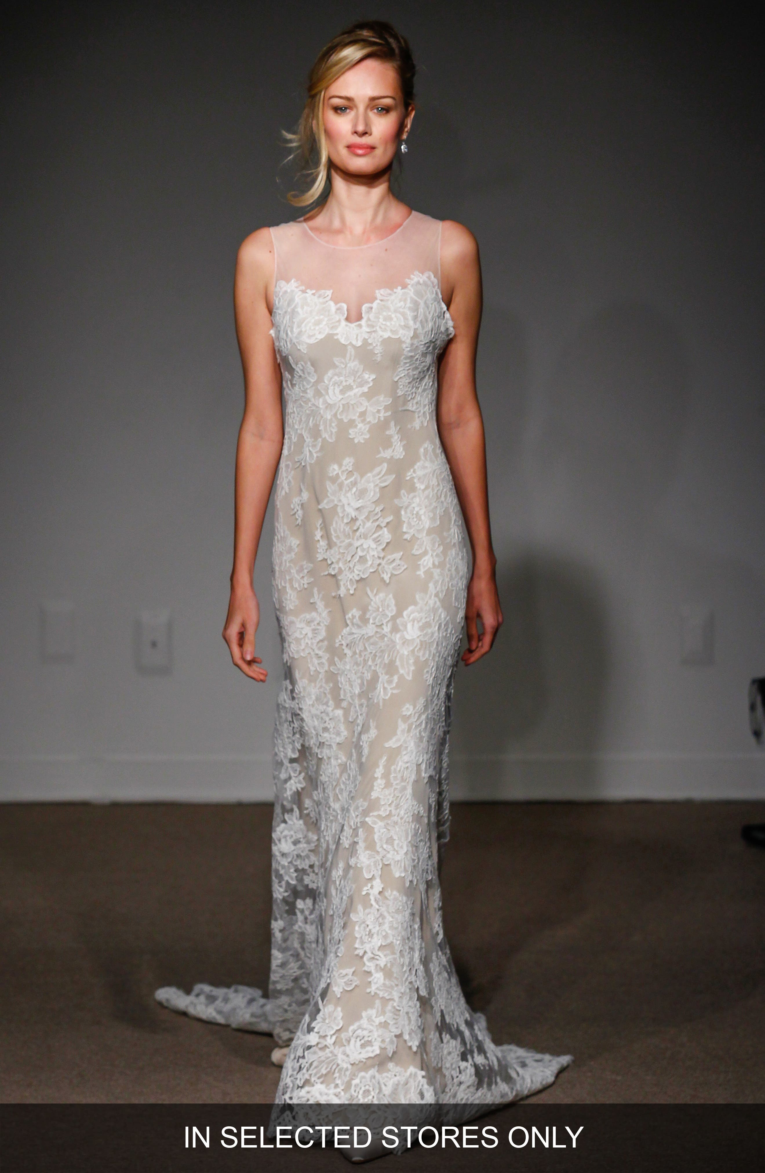 Anna Maier Couture Lola Illusion Neck Sleeveless Lace Column Gown