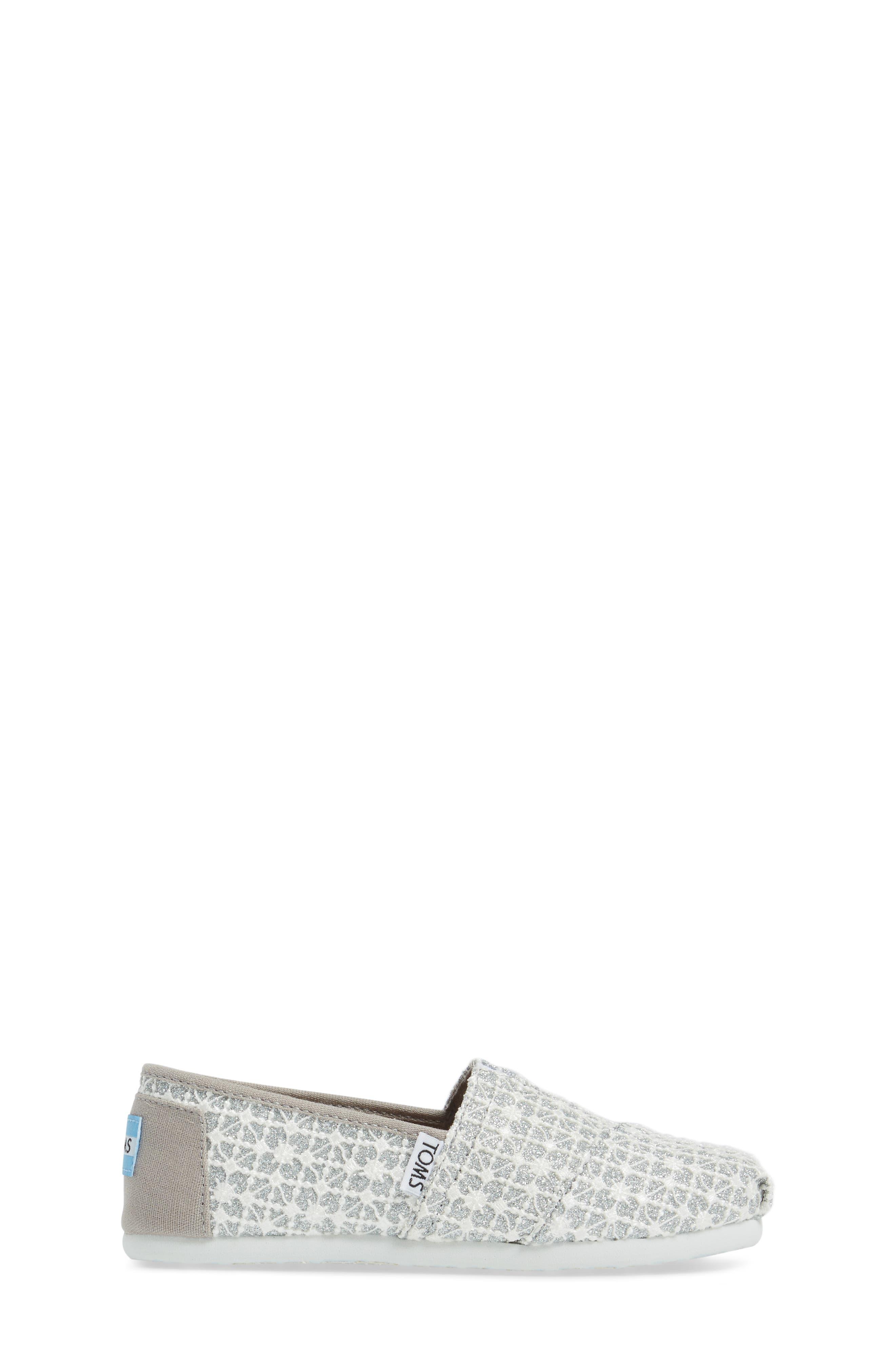Alternate Image 3  - TOMS Lace Glimmer Slip-On (Toddler, Little Kid & Big Kid)