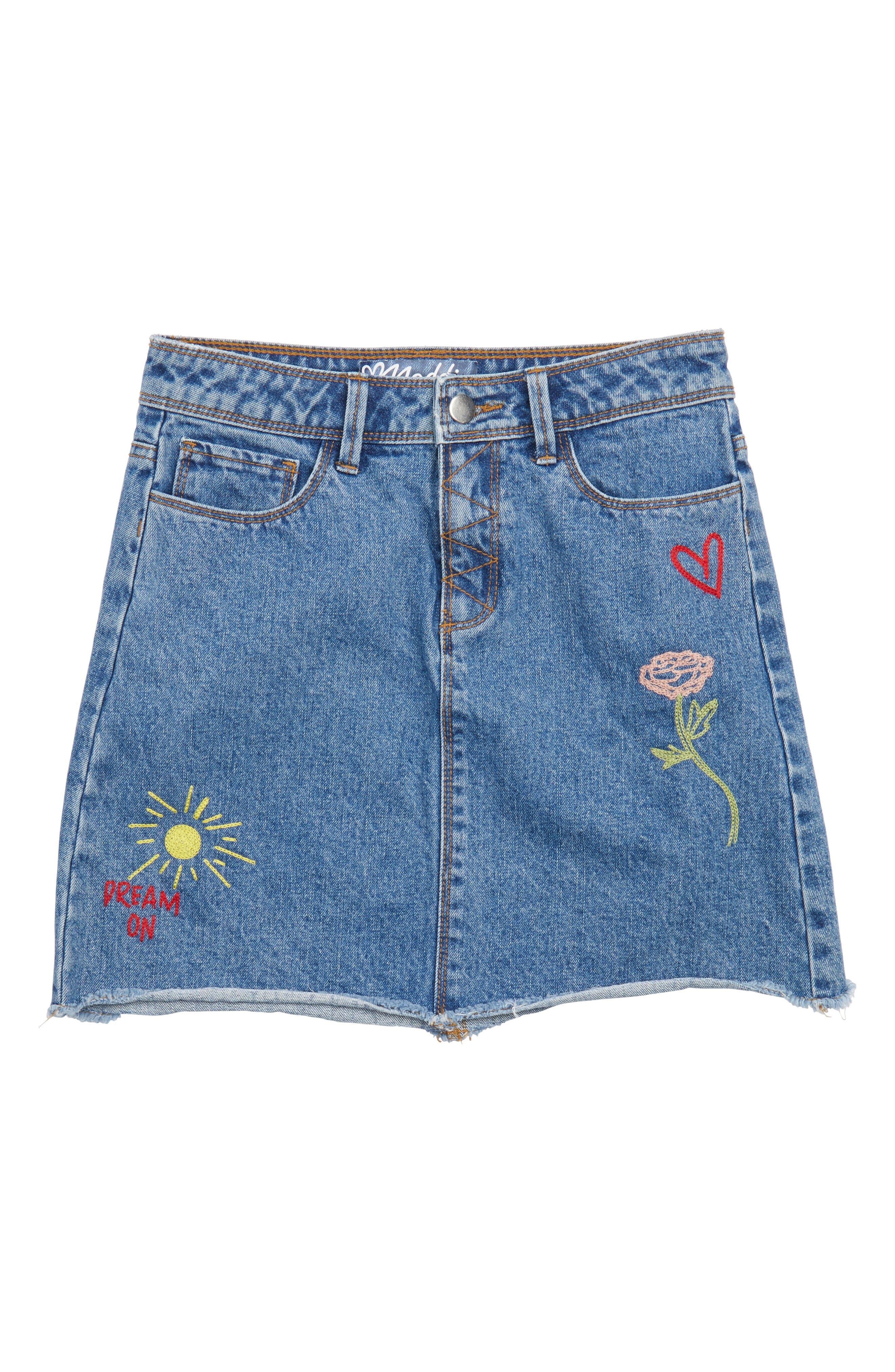 Alternate Image 1 Selected - Maddie Embroidered Denim Skirt (Big Girls)
