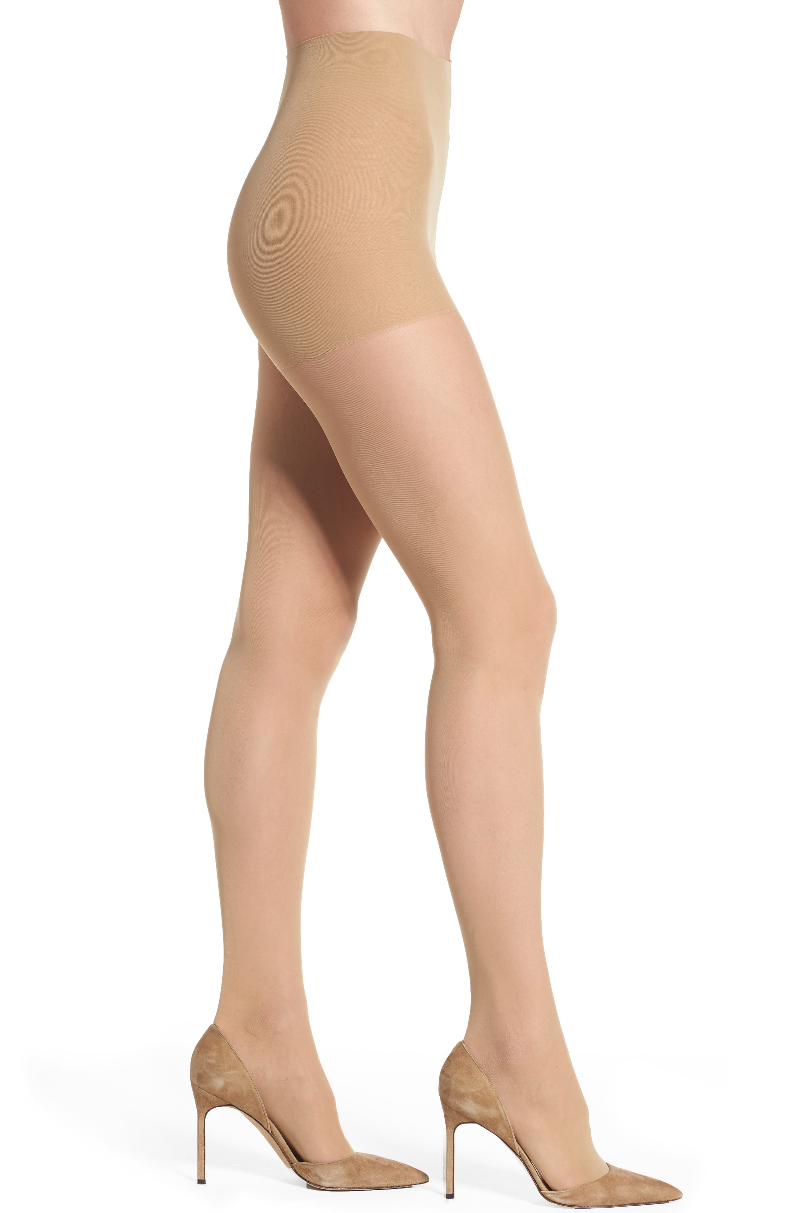 Light Opaque Control Top Tights,                             Main thumbnail 1, color,                             Caramel