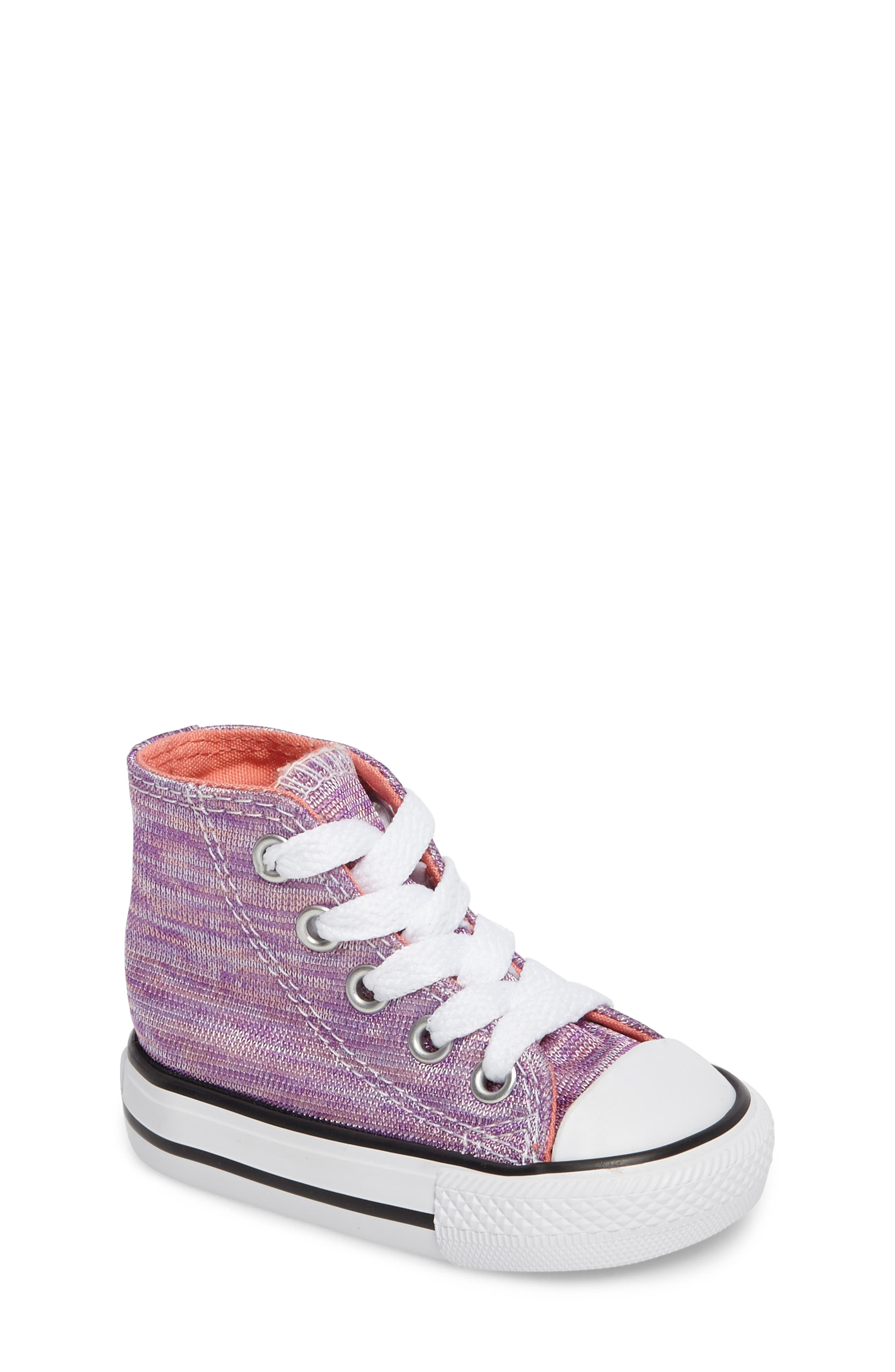 Chuck Taylor<sup>®</sup> All Star<sup>®</sup> Knit High Top Sneaker,                             Main thumbnail 1, color,                             Bright Violet Textile