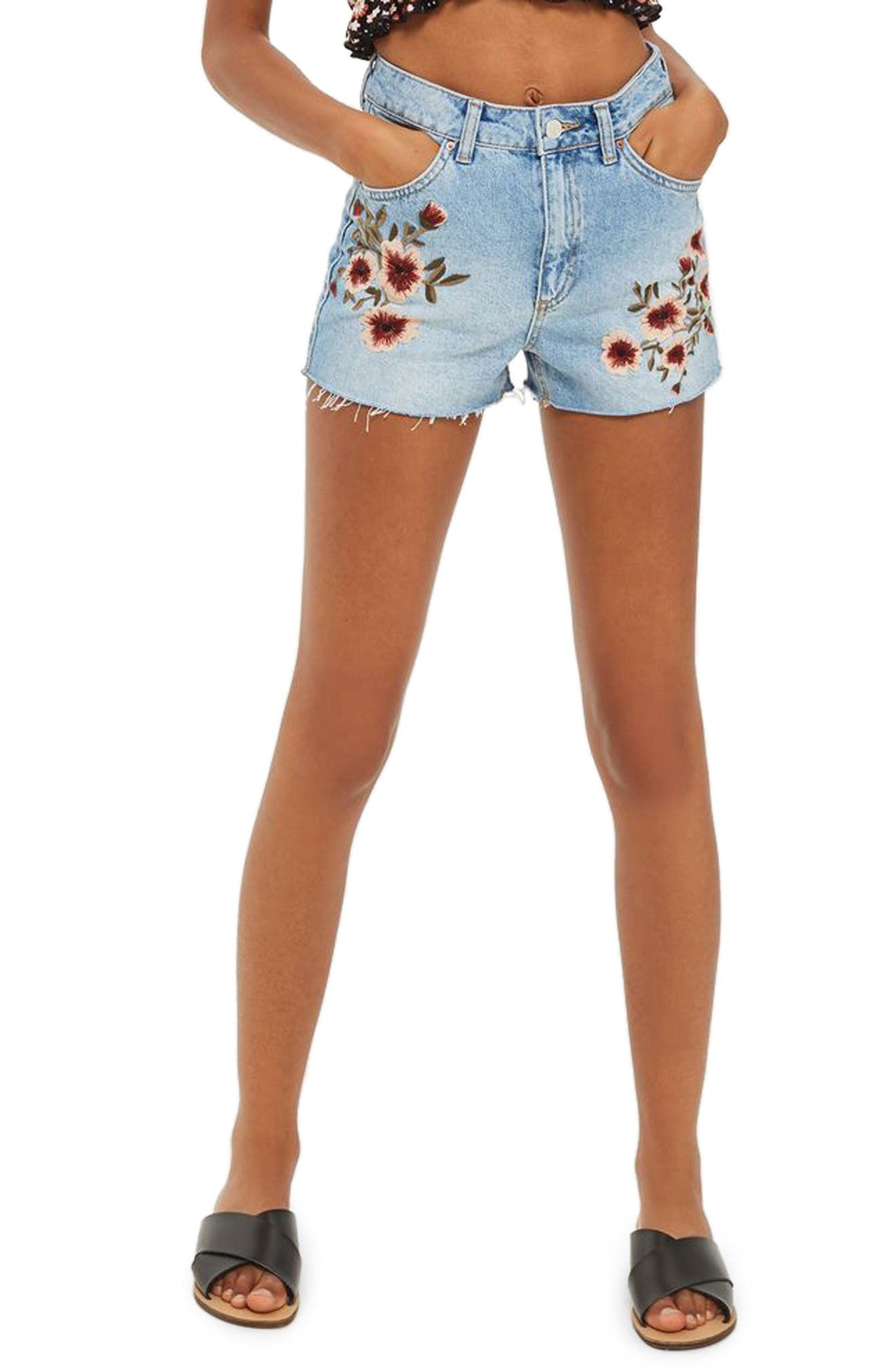 Topshop Blossom Embroidered Denim Mom Shorts