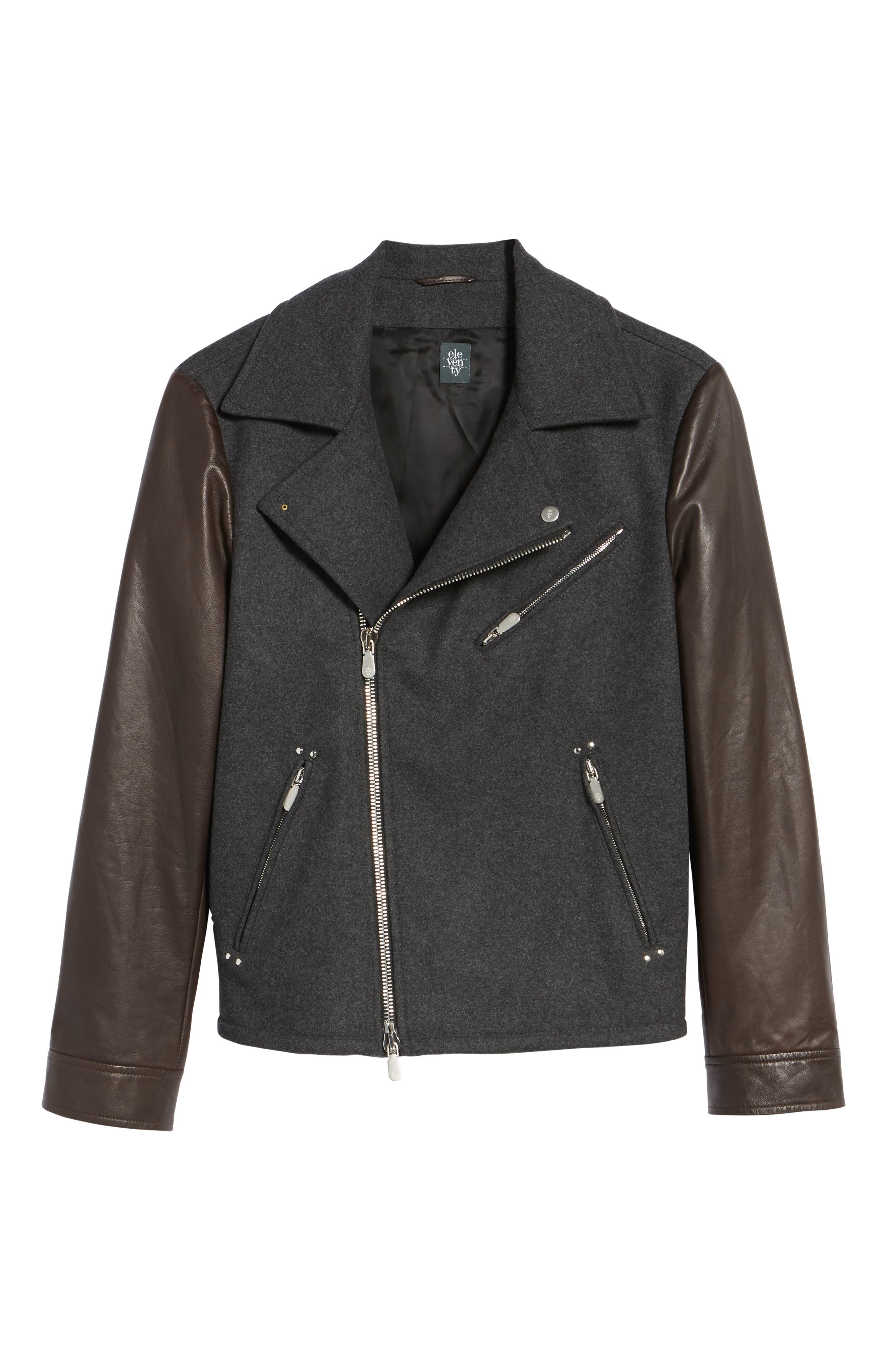 Leather & Flannel Moto Jacket,                             Alternate thumbnail 5, color,                             Charcoal/ Brown