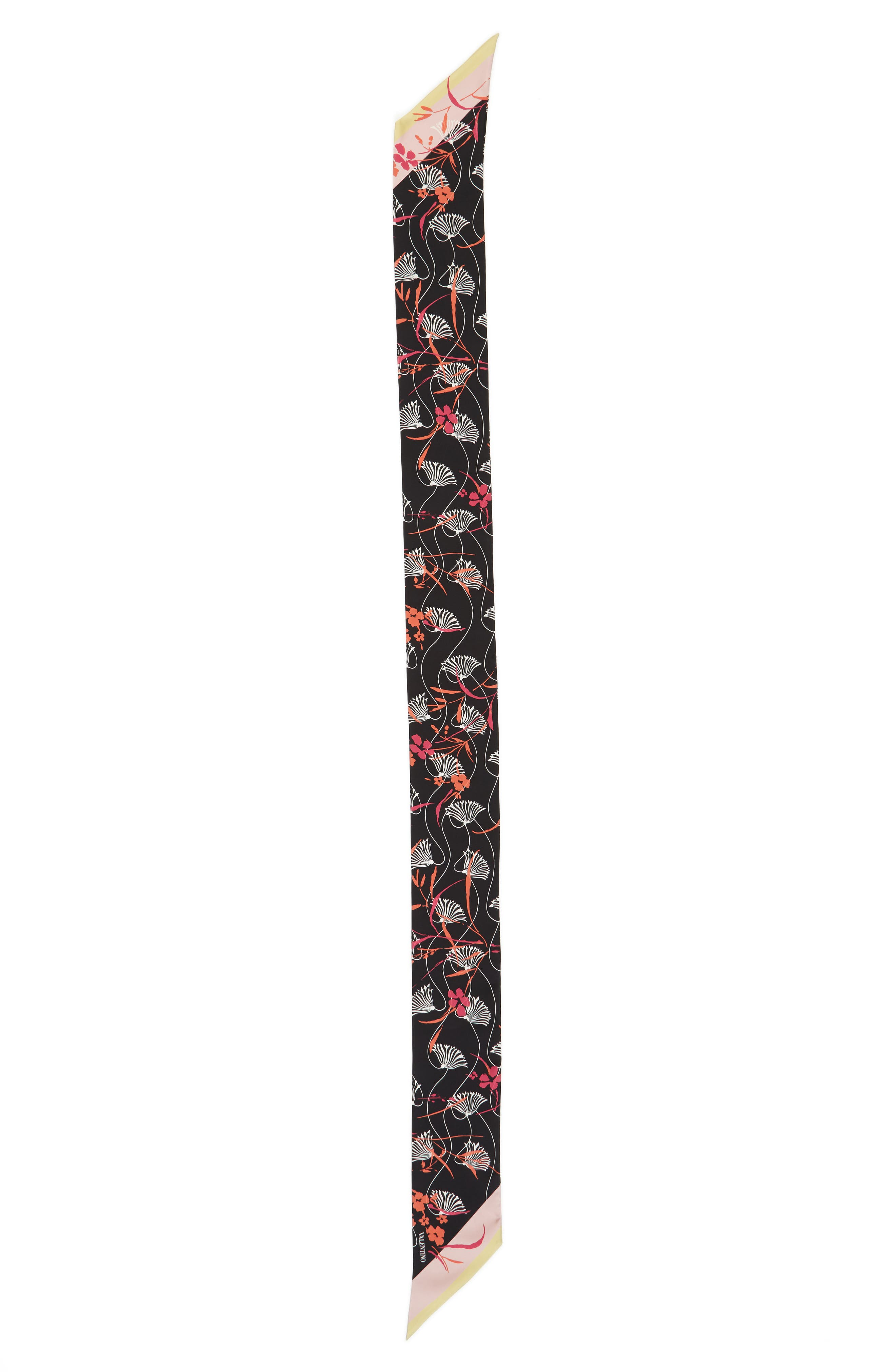 Lotus Silk Scarf,                         Main,                         color, Nero