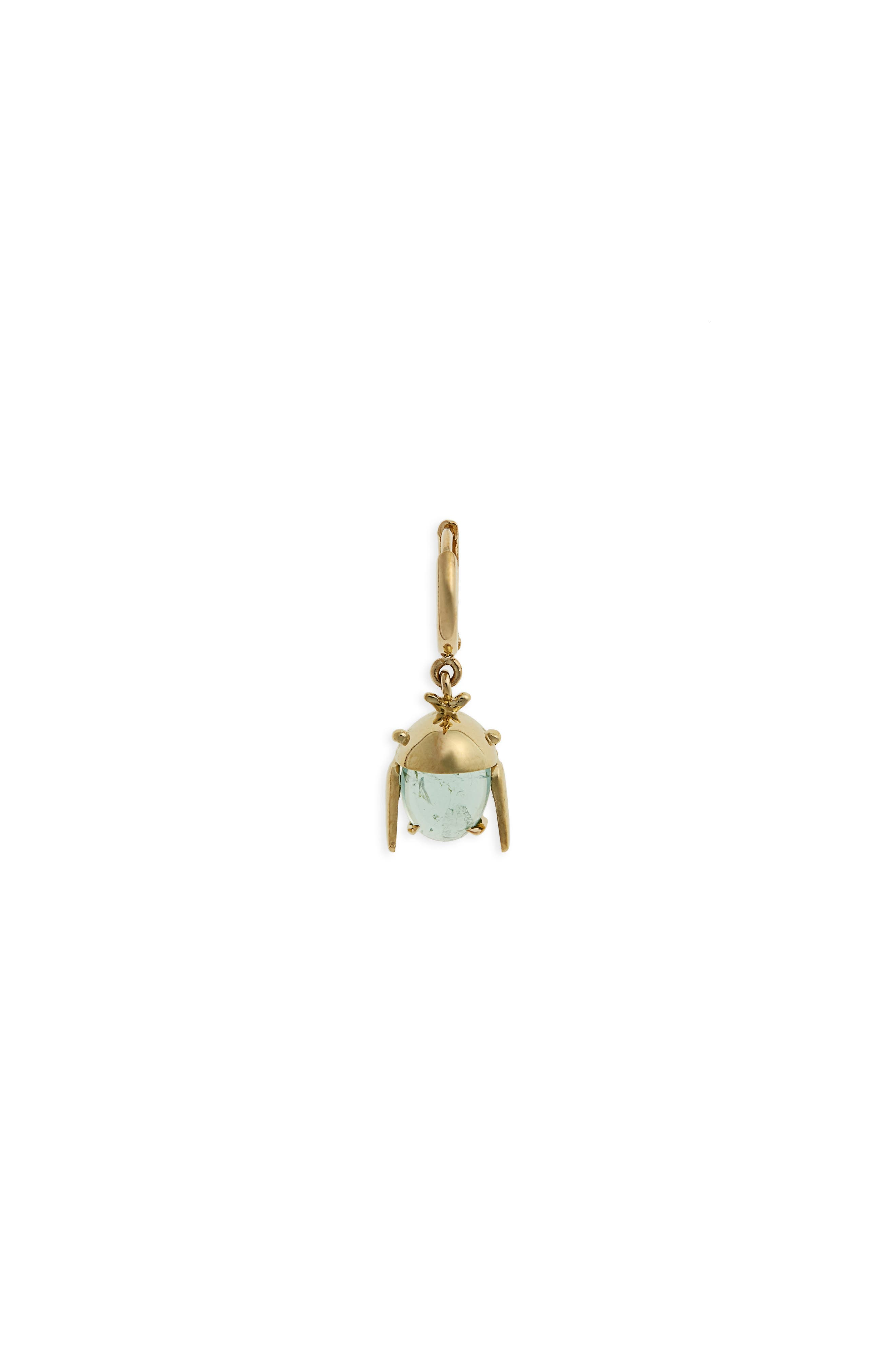 Chiquitin Volador Tourmaline Hoop Earring,                         Main,                         color, Mint/ Yellow Gold
