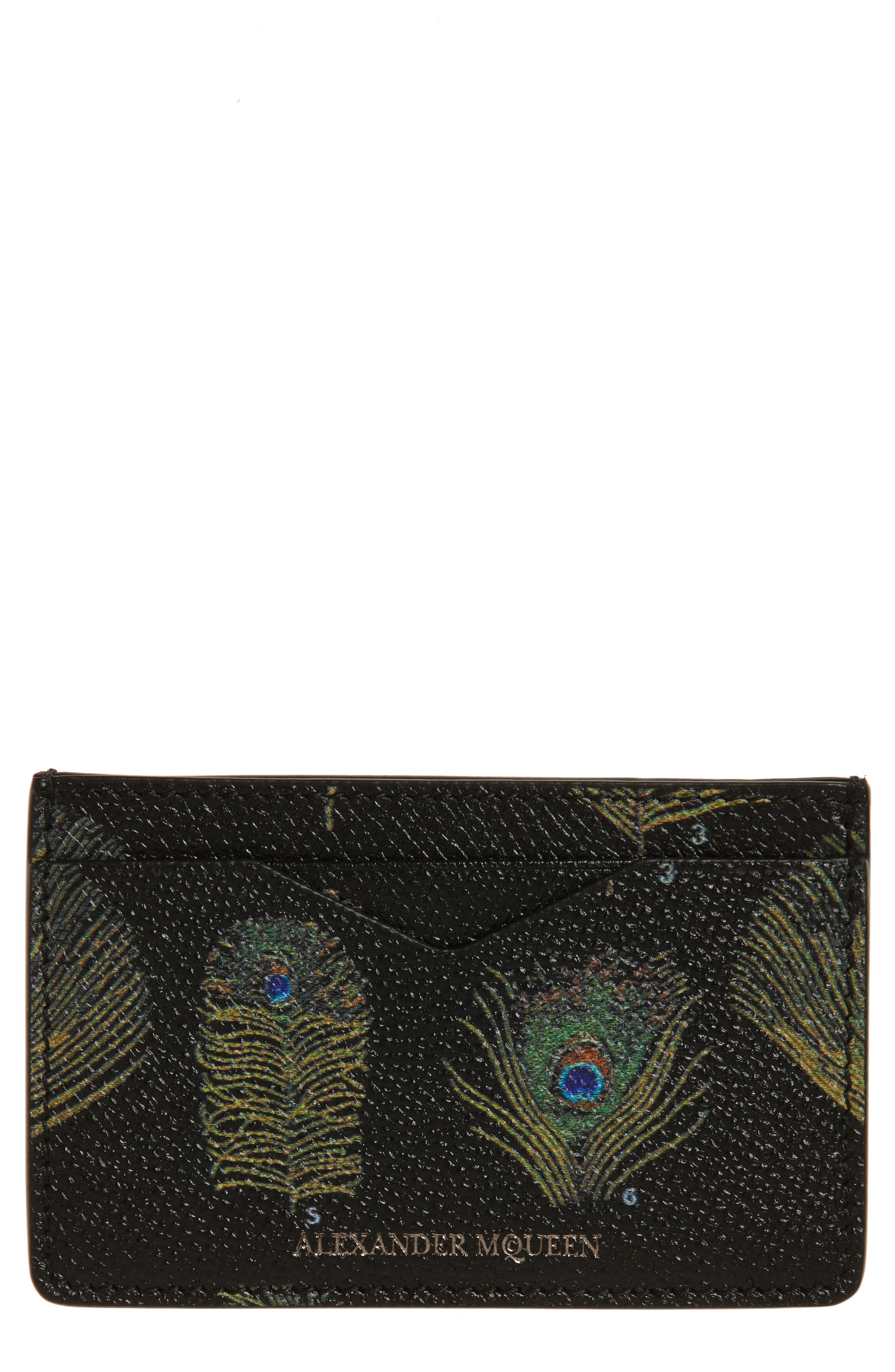 ALEXANDER MCQUEEN Peacock Feather Leather Card Case