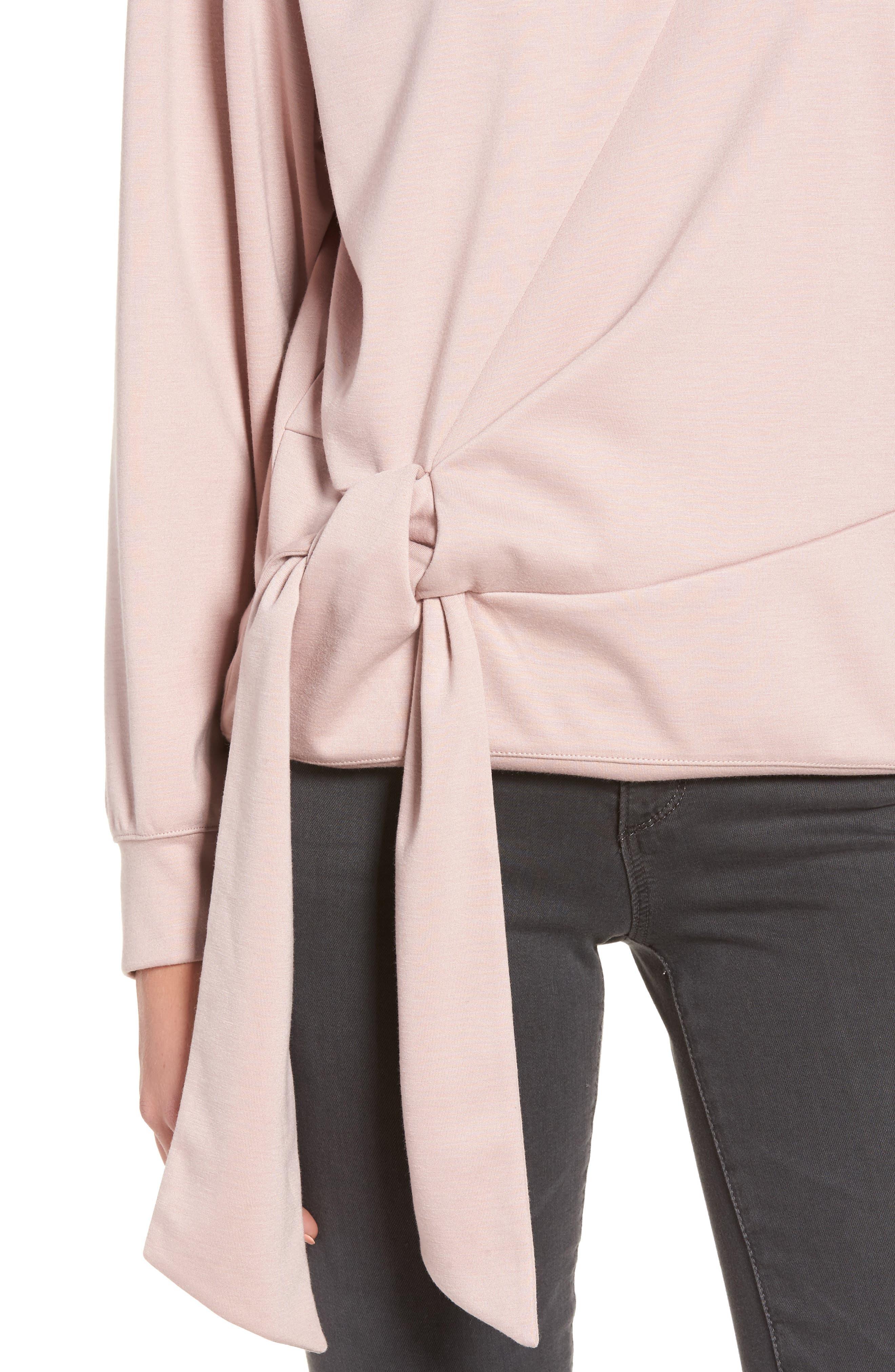 Tie Front Sweatshirt,                             Alternate thumbnail 4, color,                             Pink Adobe